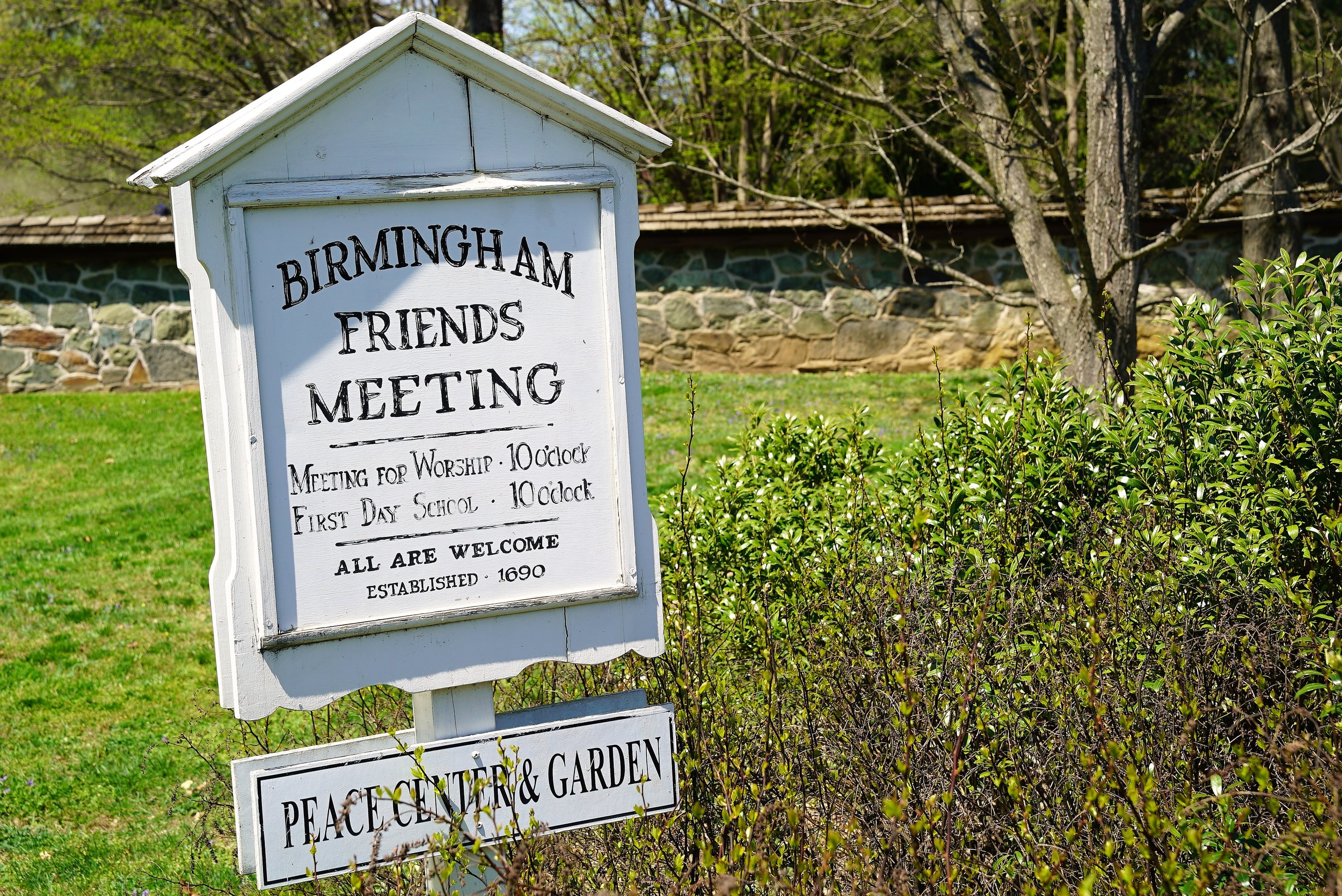 Roadside sign to Birmingham Friends Meeting. West Chester, Pennsylvania.