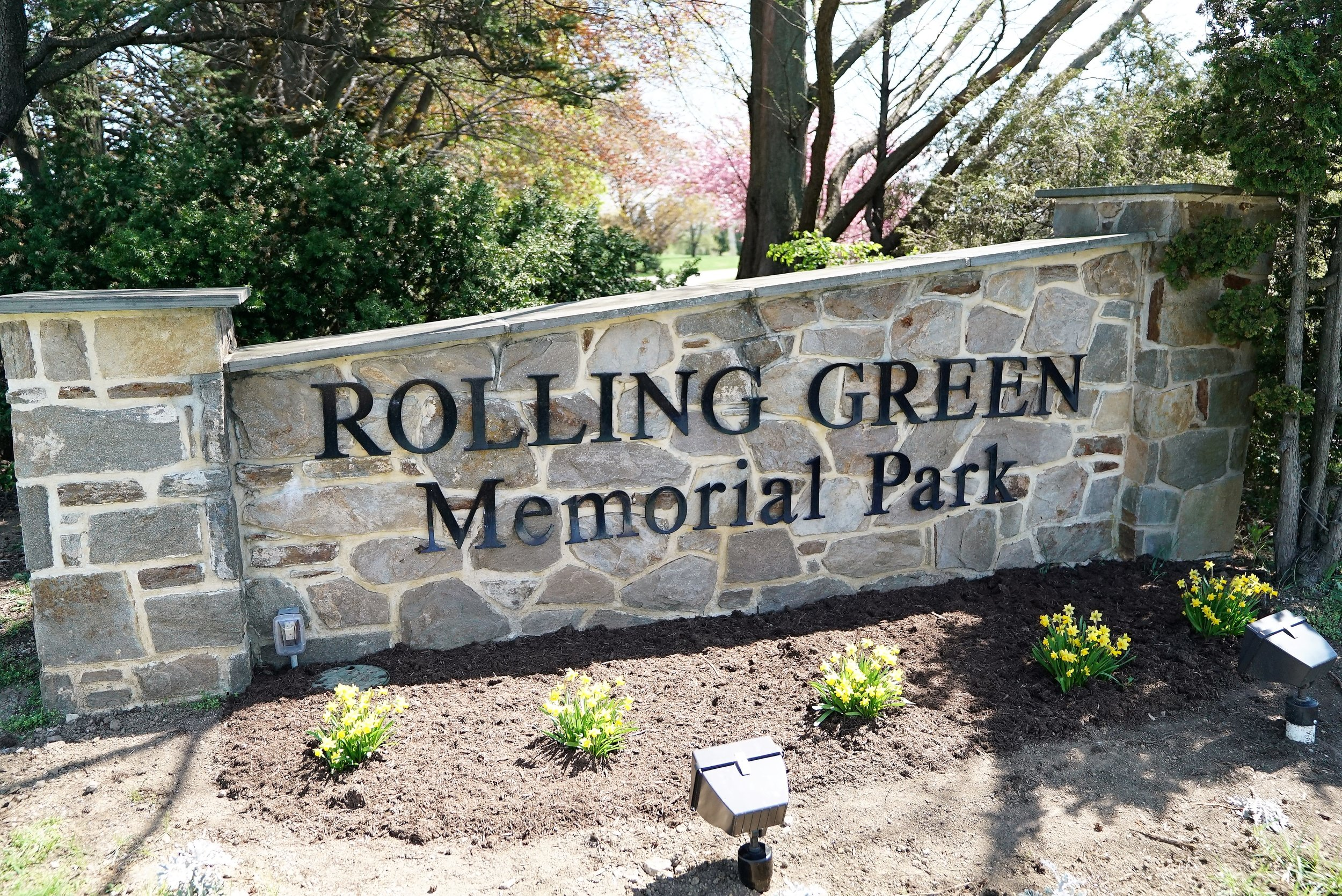 At the entrance to Rolling Green Memorial Park Cemetery in West Chester, Pennsylvania.
