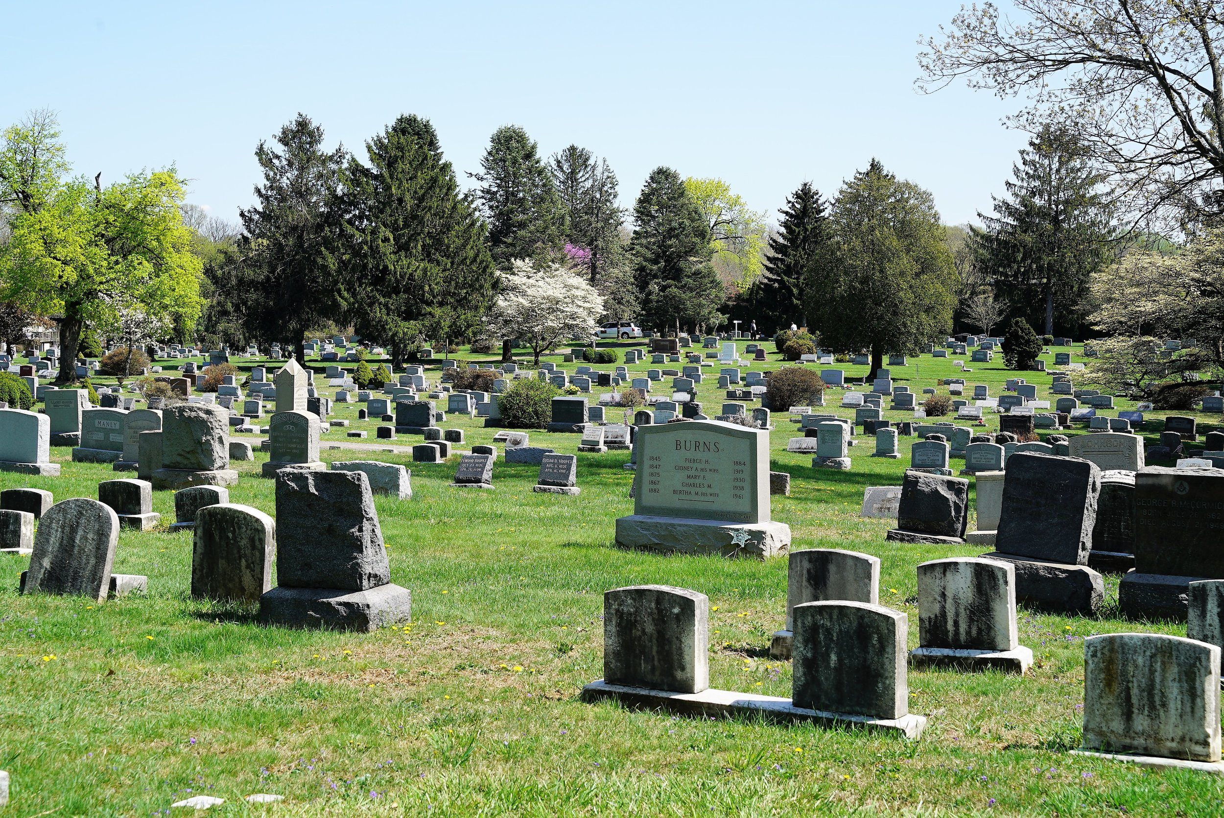 The view at Green Mount Cemetery in West Chester, PA. April 2017.