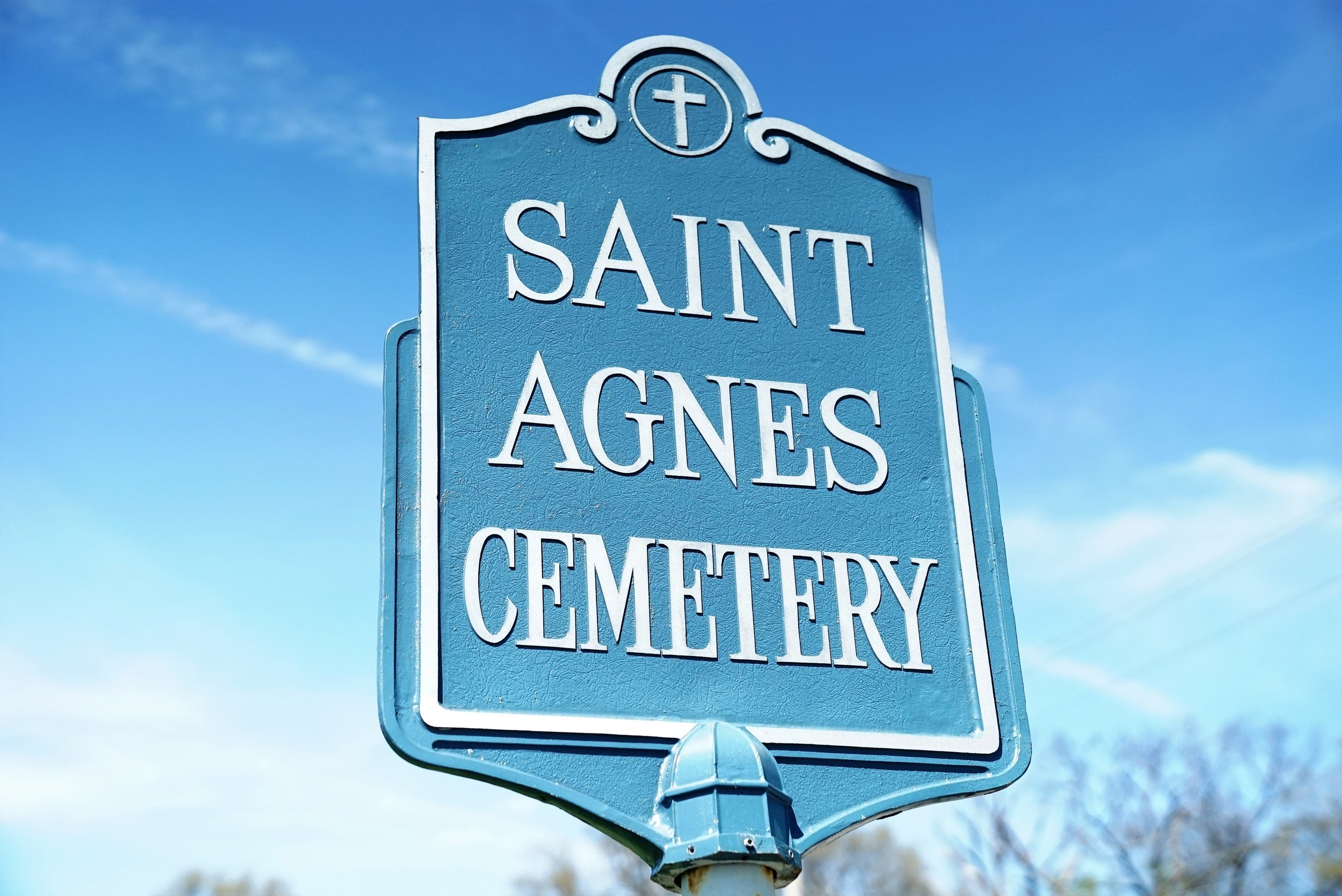 Saint Agnes Cemetery sign. West Chester, Pennsylvania.
