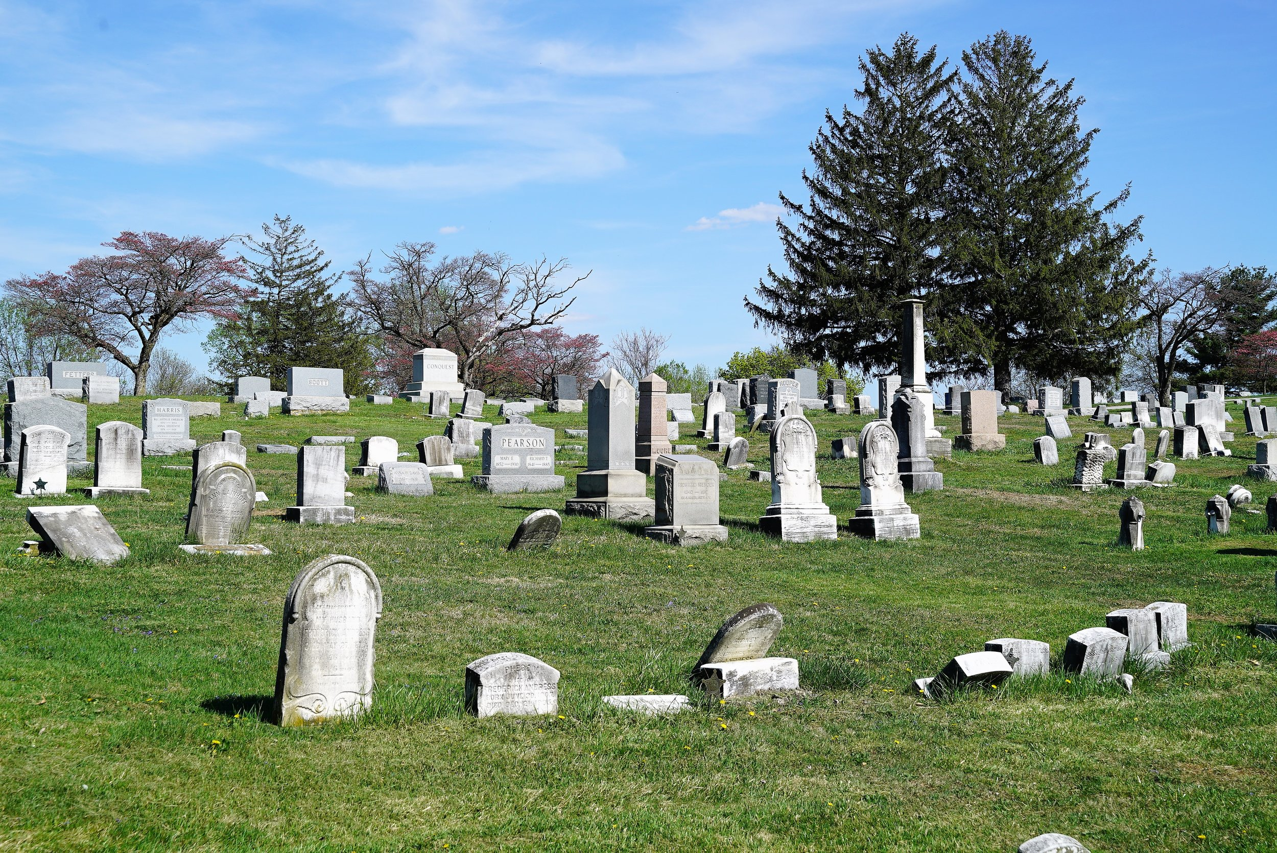 The view on a sunny April day at Grove United Methodist Church Cemetery. West Chester, PA.