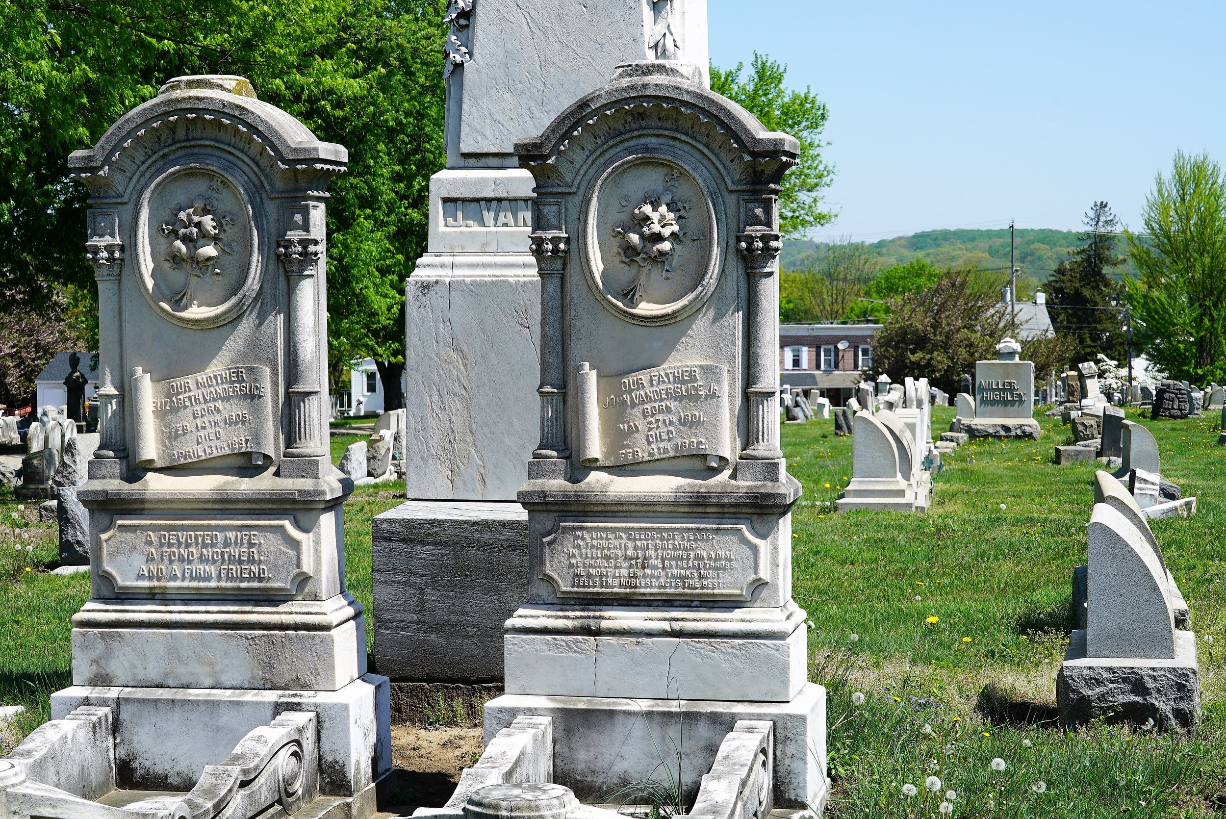 Unusual old tombstones at Morris Cemetery. Phoenixville, Pennsylvania.