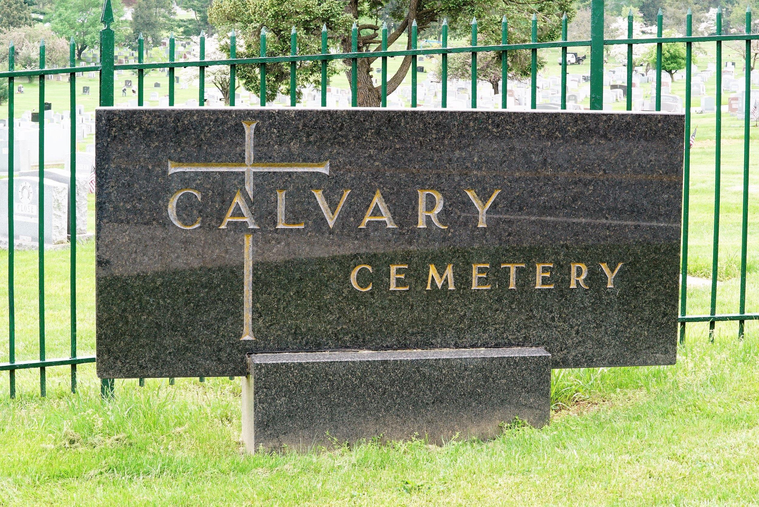 Sign at the entrance to Calvary Cemetery. Conshohocken, Pennsylvania.