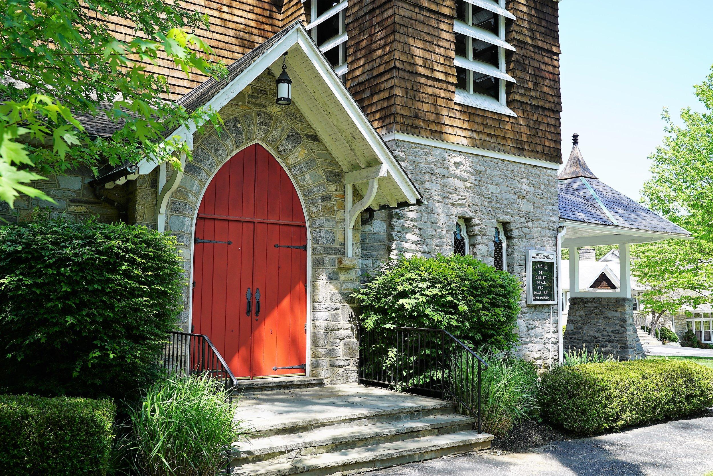 Entrance to Great Valley Presbyterian Church. Malvern, Pennsylvania.