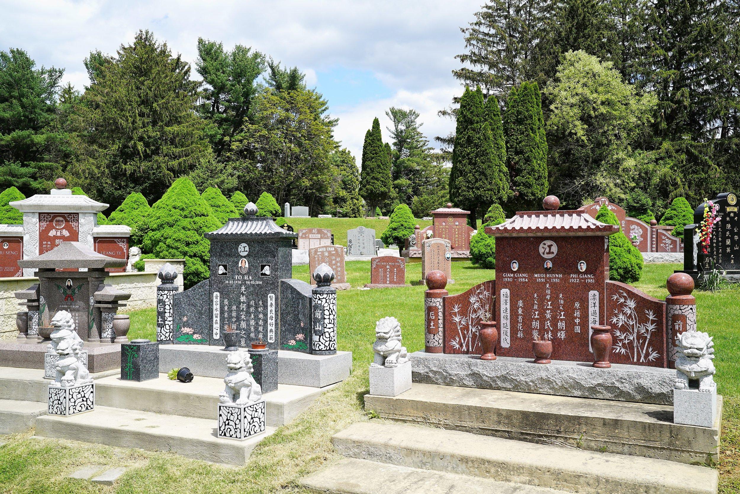 Asian memorials at Hillside Cemetery. Roslyn, Pennsylvania.