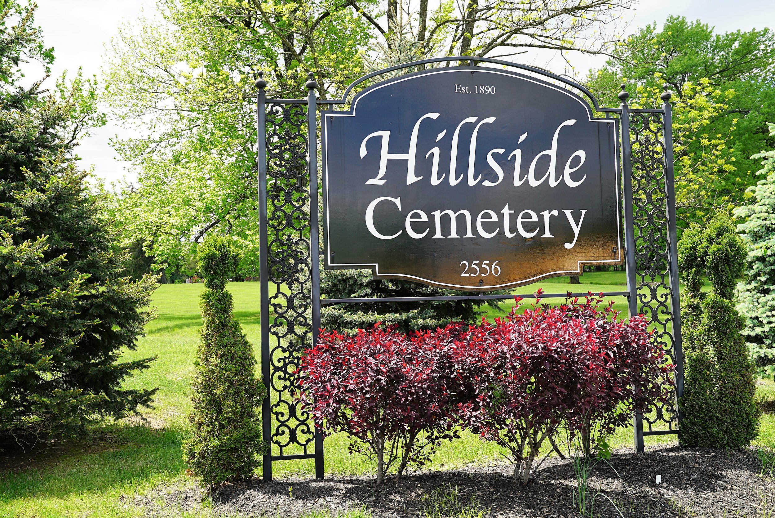 At one of the entrances to Hillside Cemetery. Rosylyn, Pennylvania.