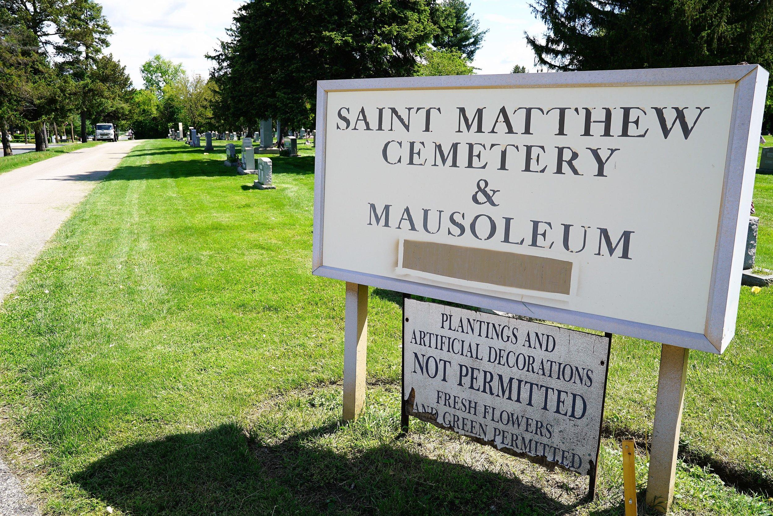At the entrance to Saint Matthew Cemetery. Conshohocken, Pennsylvania.