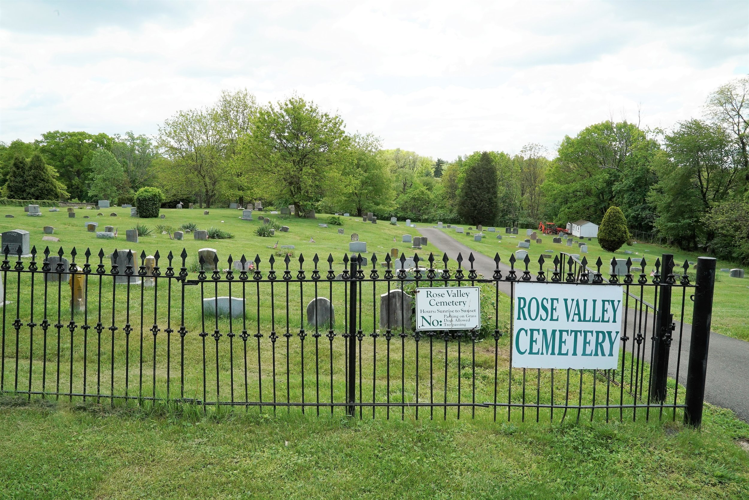 At the entrance to Rose Valley Cemetery. Ambler, Pennsylvania.