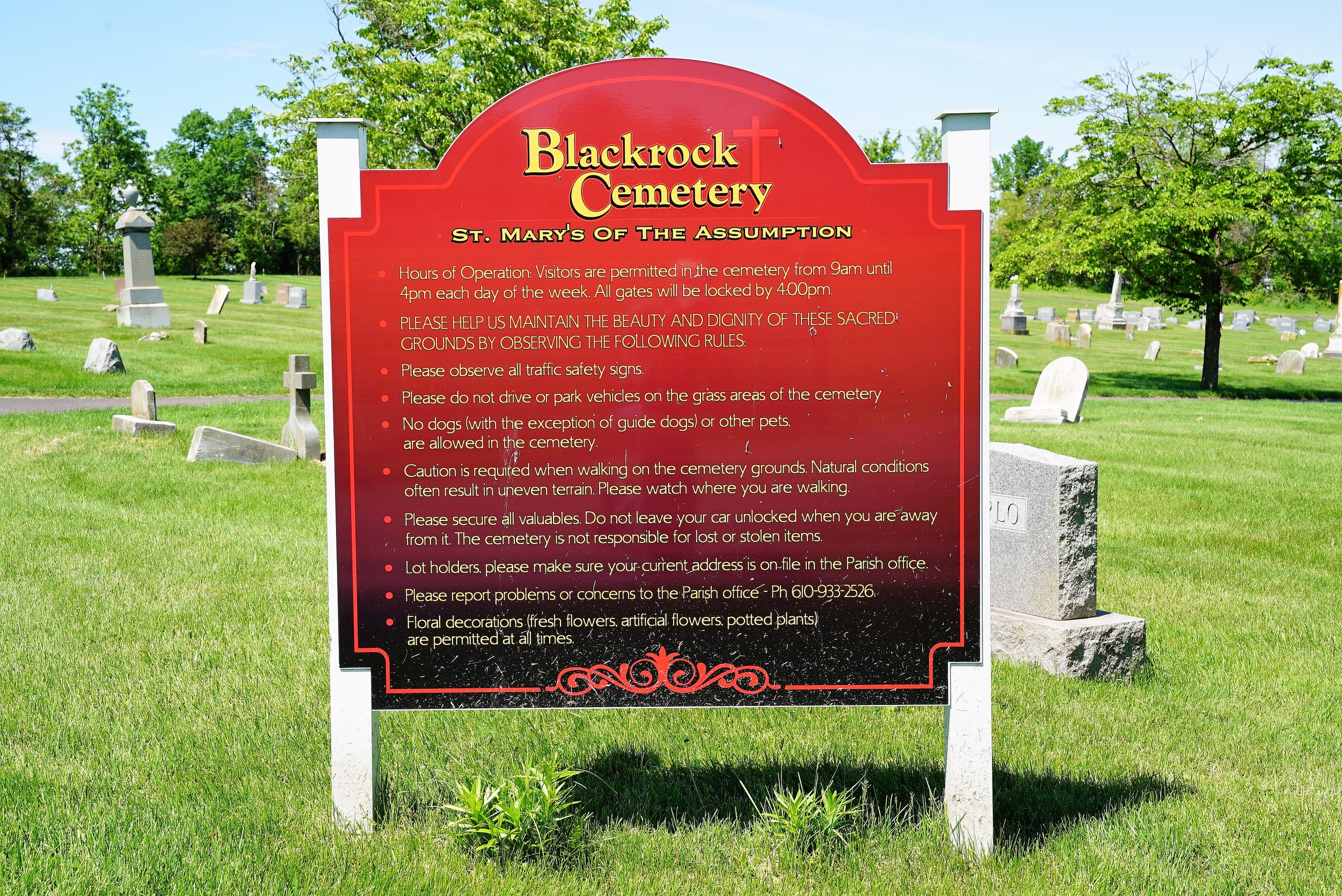 Sign at the entrance to Black Rock Cemetery. Phoenixville, Pennsylvania.