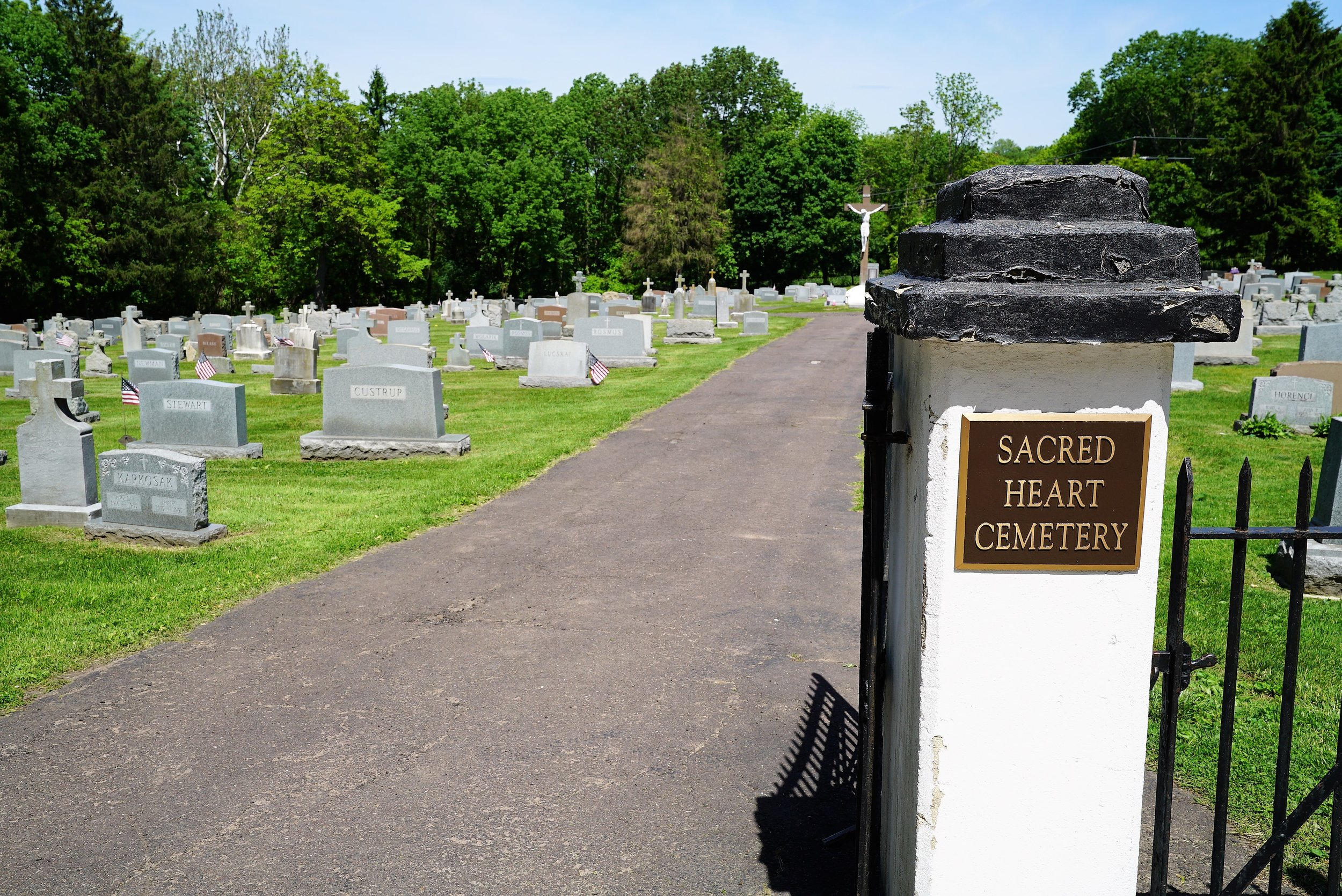 At the entrance to Sacred Heart Cemetery. Phoenixville, Pennsylvania.