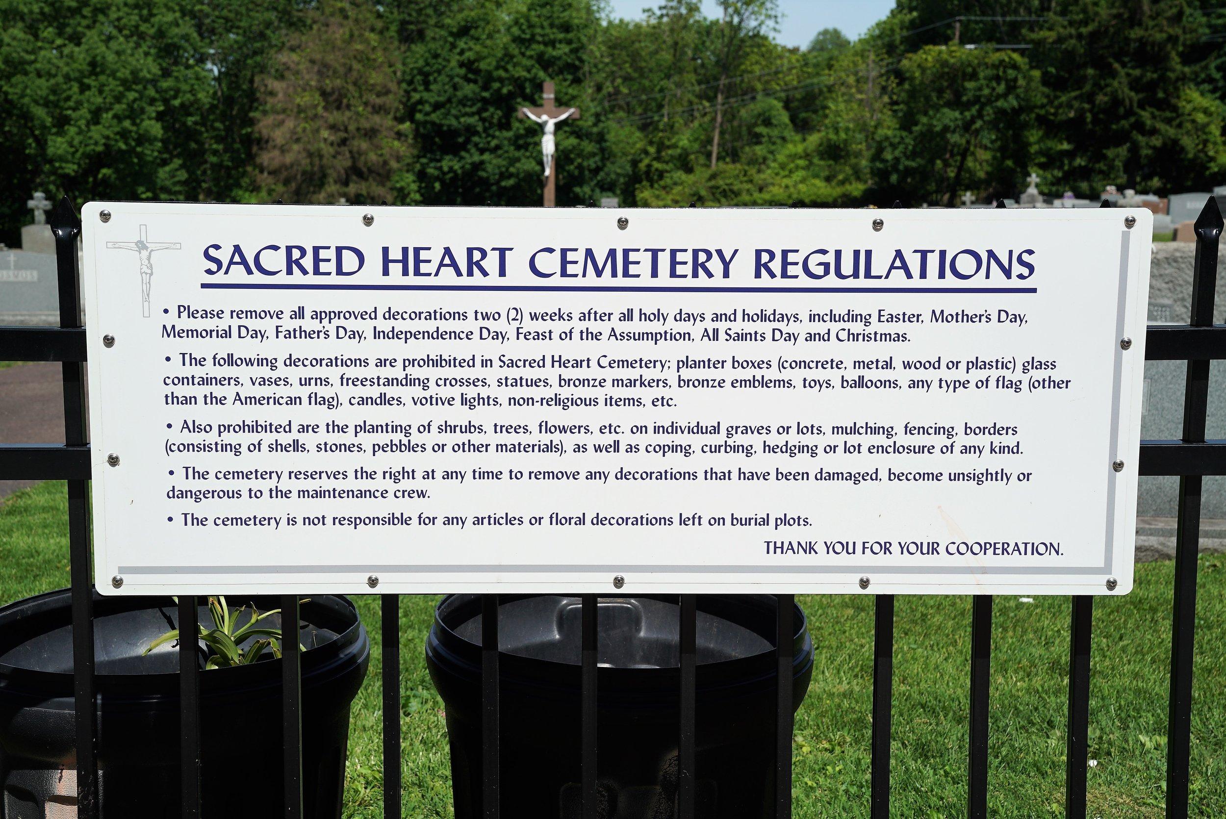 The rules. Sacred Heart Cemetery. Phoenixville, Pennsylvania.