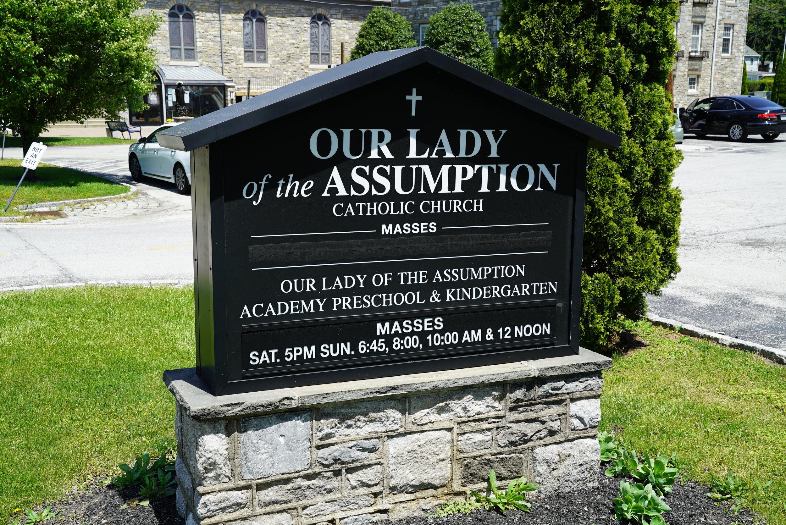 Sign at Our Lady Of The Assumption Catholic Church. Wayne, Pennsylvania.