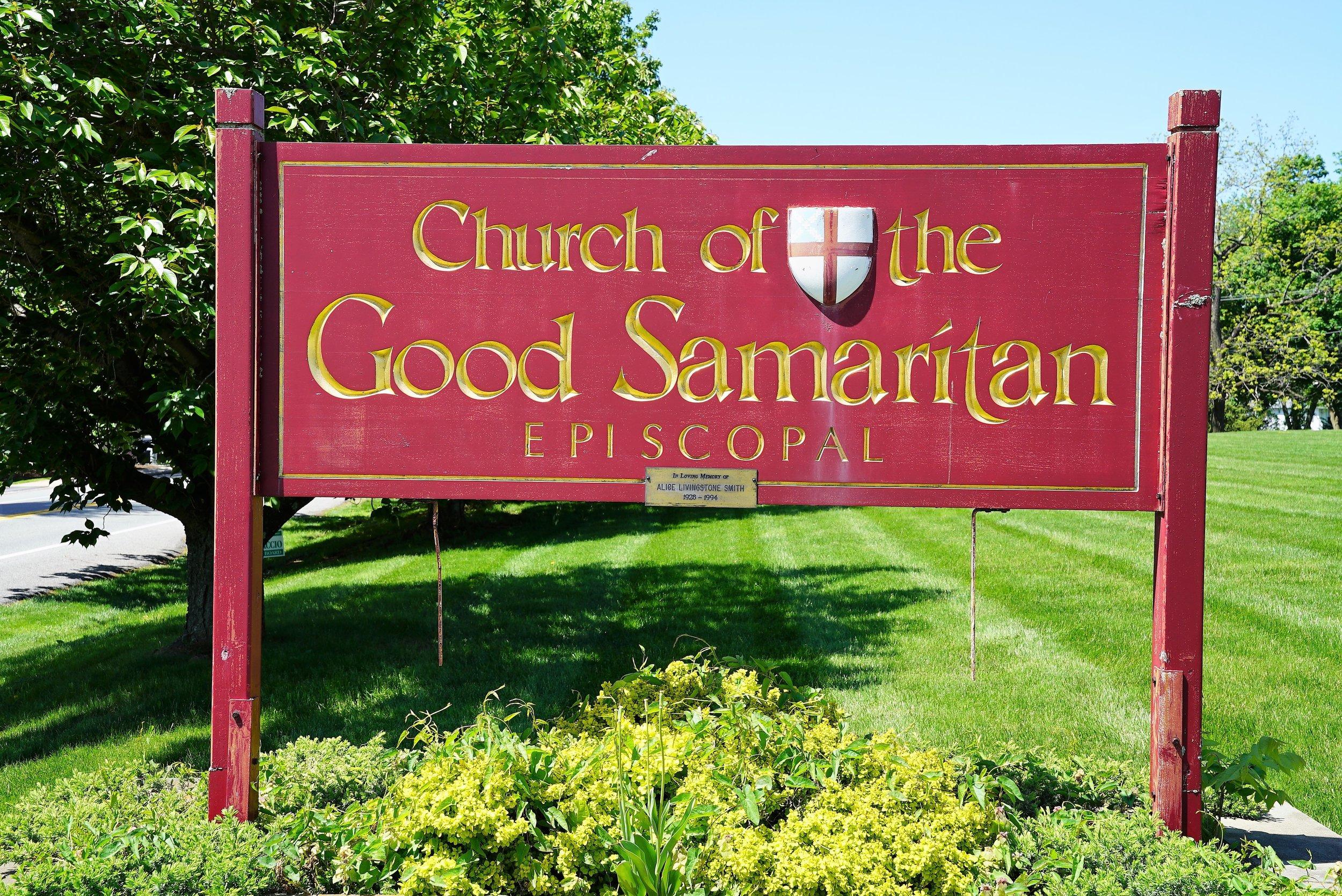 At the rear entrance: Signage of the Church Of The Good Samaritan. Paoli, Pennsylvania.