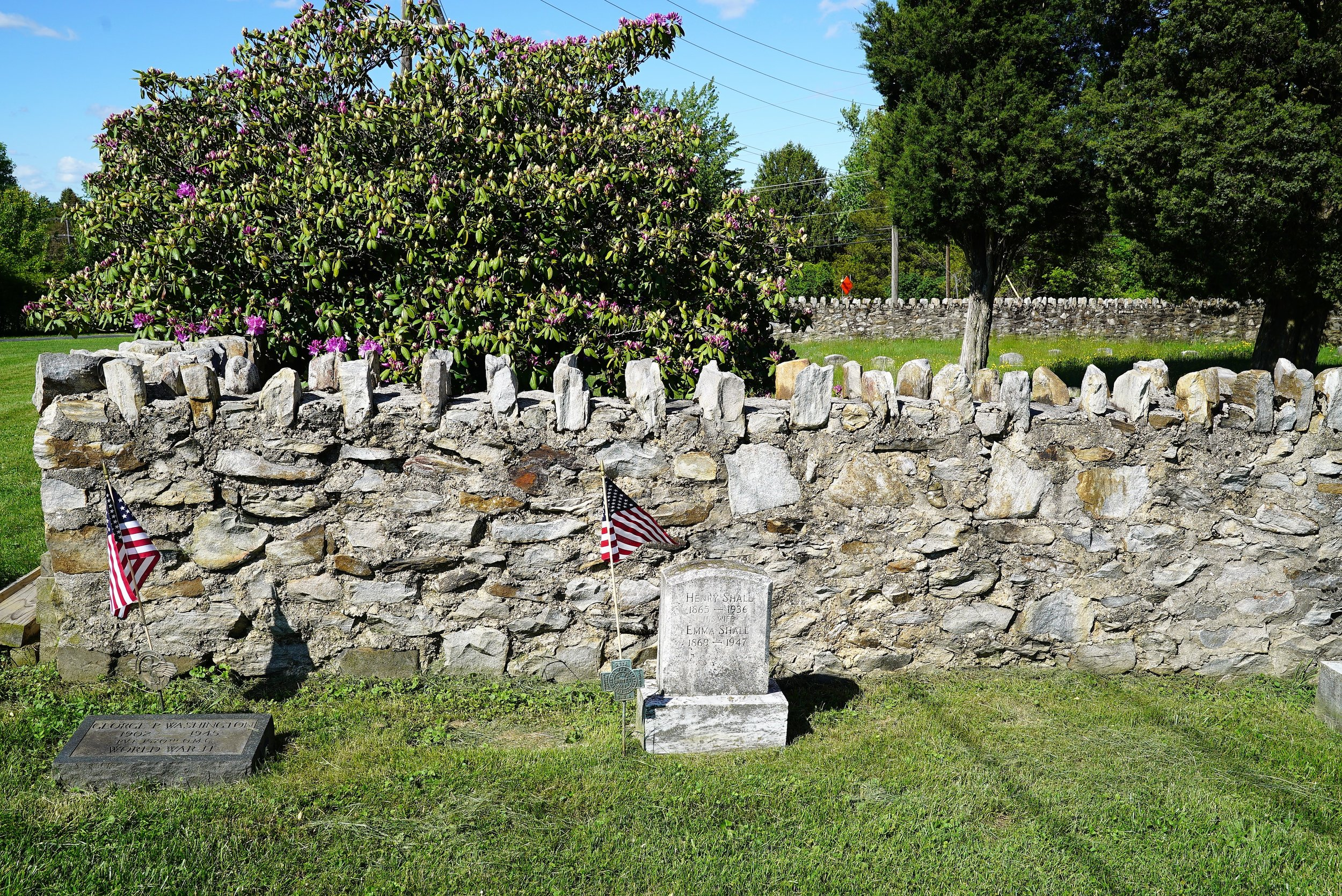 Beyond that wall is Fallowfield Orthodox Friends Burial Ground. Ercildoun, Pennsylvania.