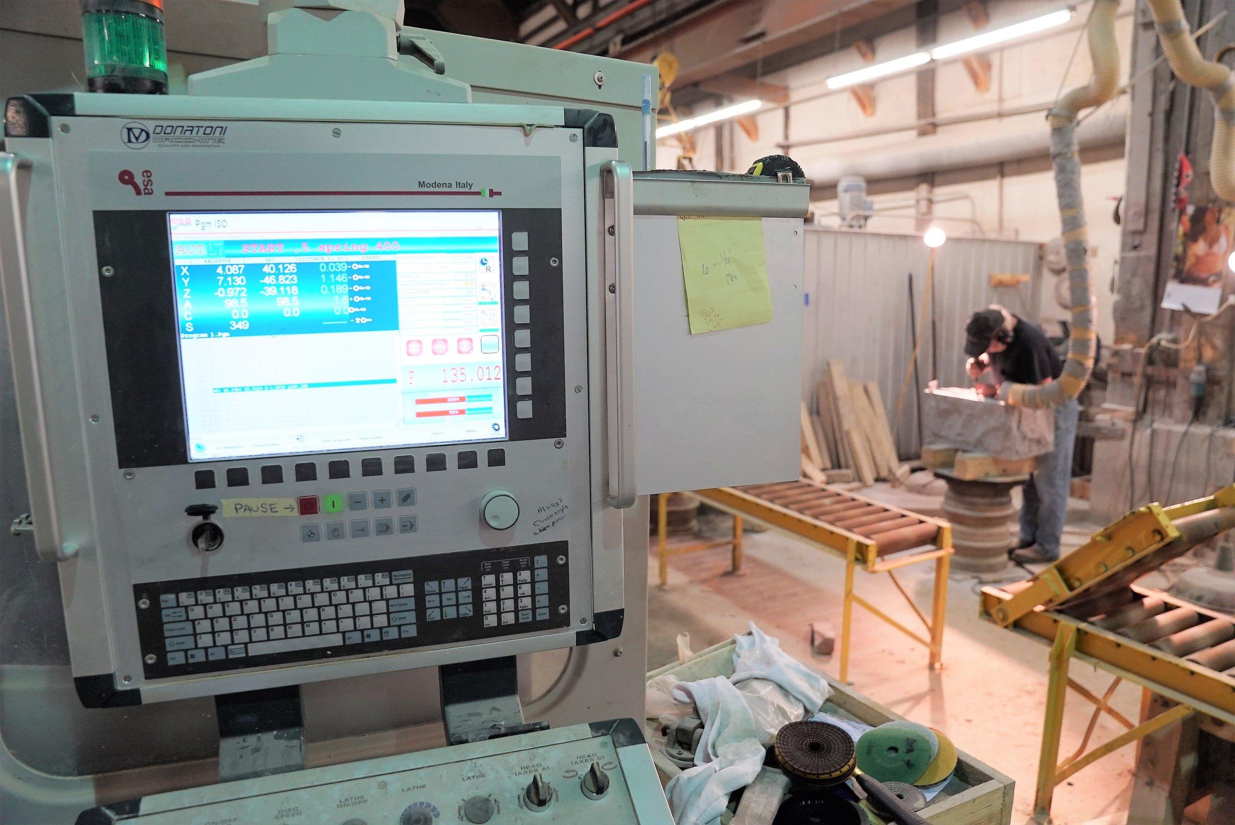 The polishing machine's control panel. It looks complicated!