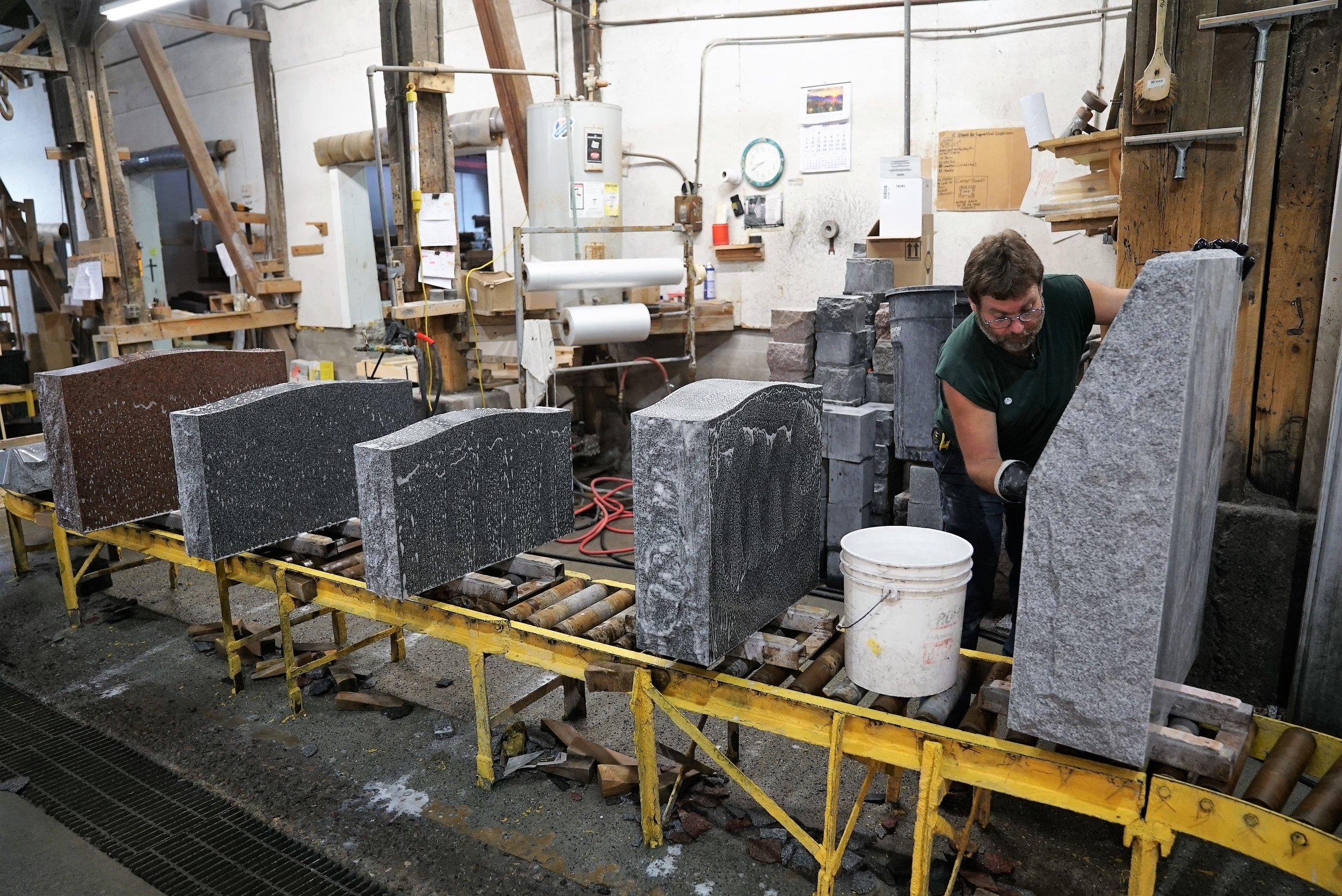Stones are being washed and inspected.