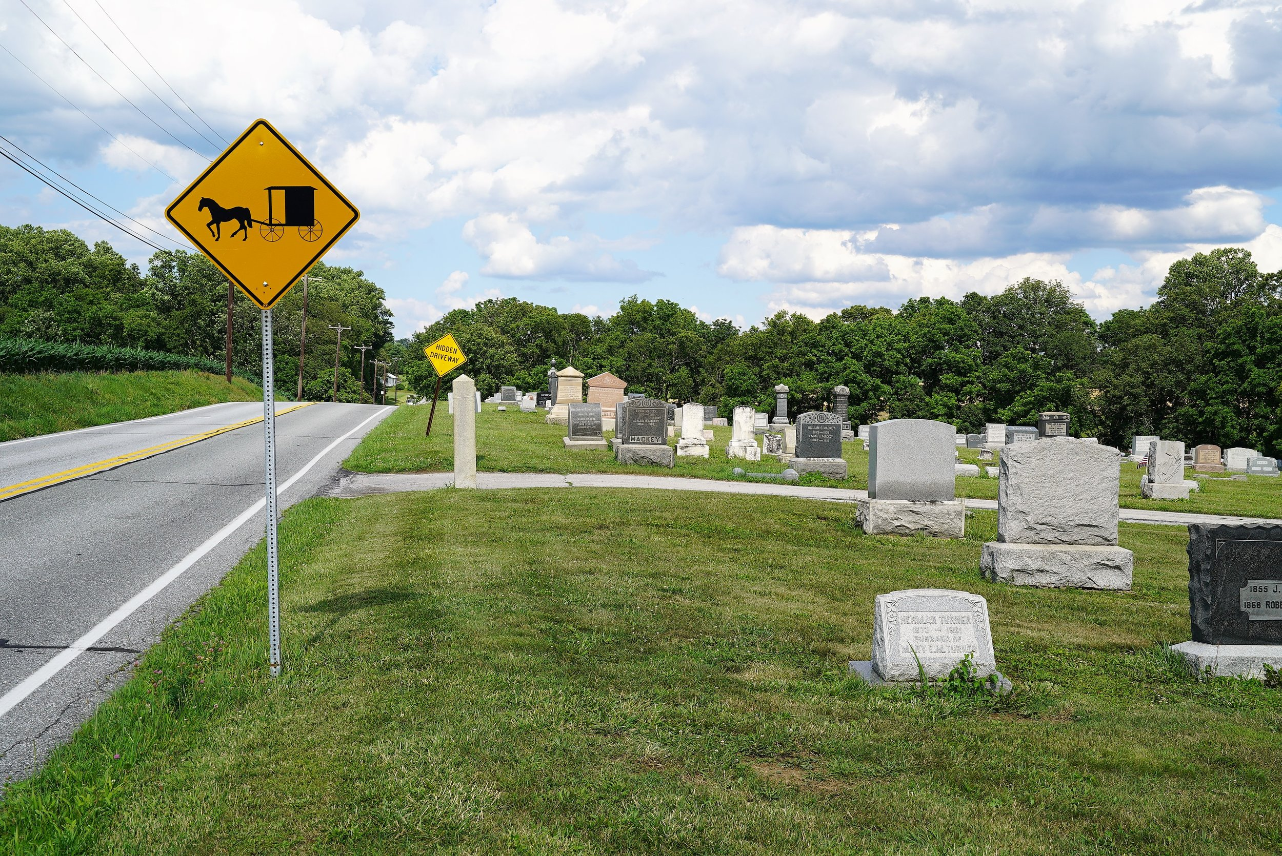 Watch out for the Amish... Manor Presbyterian Church Cemetery. Cochranville, Pennsylvania.