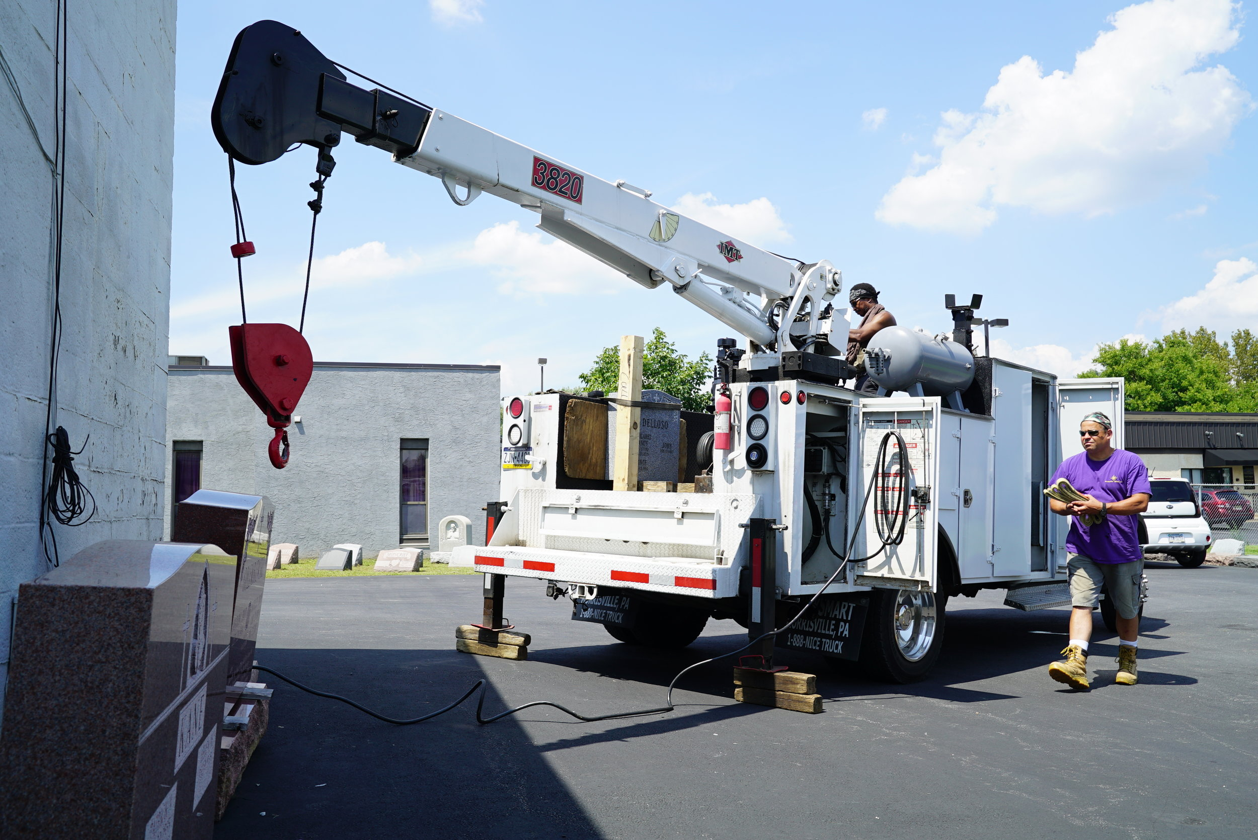 The crane truck used in setting our larger stones.