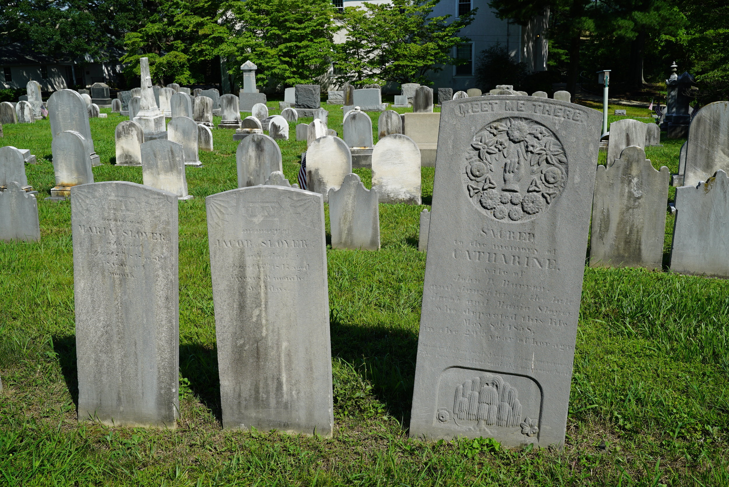 Ancient gravestones at St. Peter's Pikeland UCC Cemetery. Chester Springs, Pennsylvania.