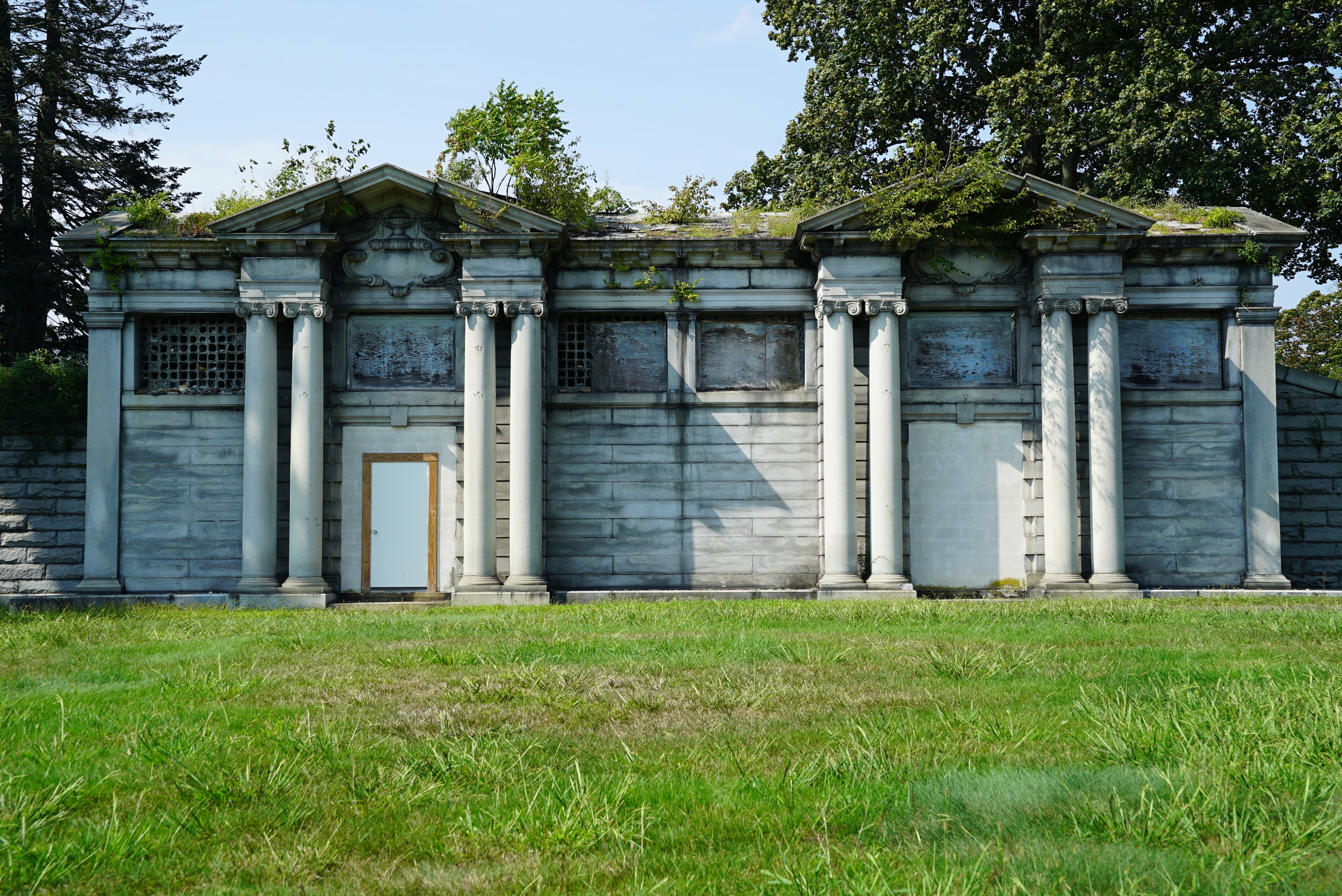 A beautiful old structure at Forest Hills Cemetery. Huntingdon Valley, Pennsylvania. The structure's upkeep does not appear to be a priority.