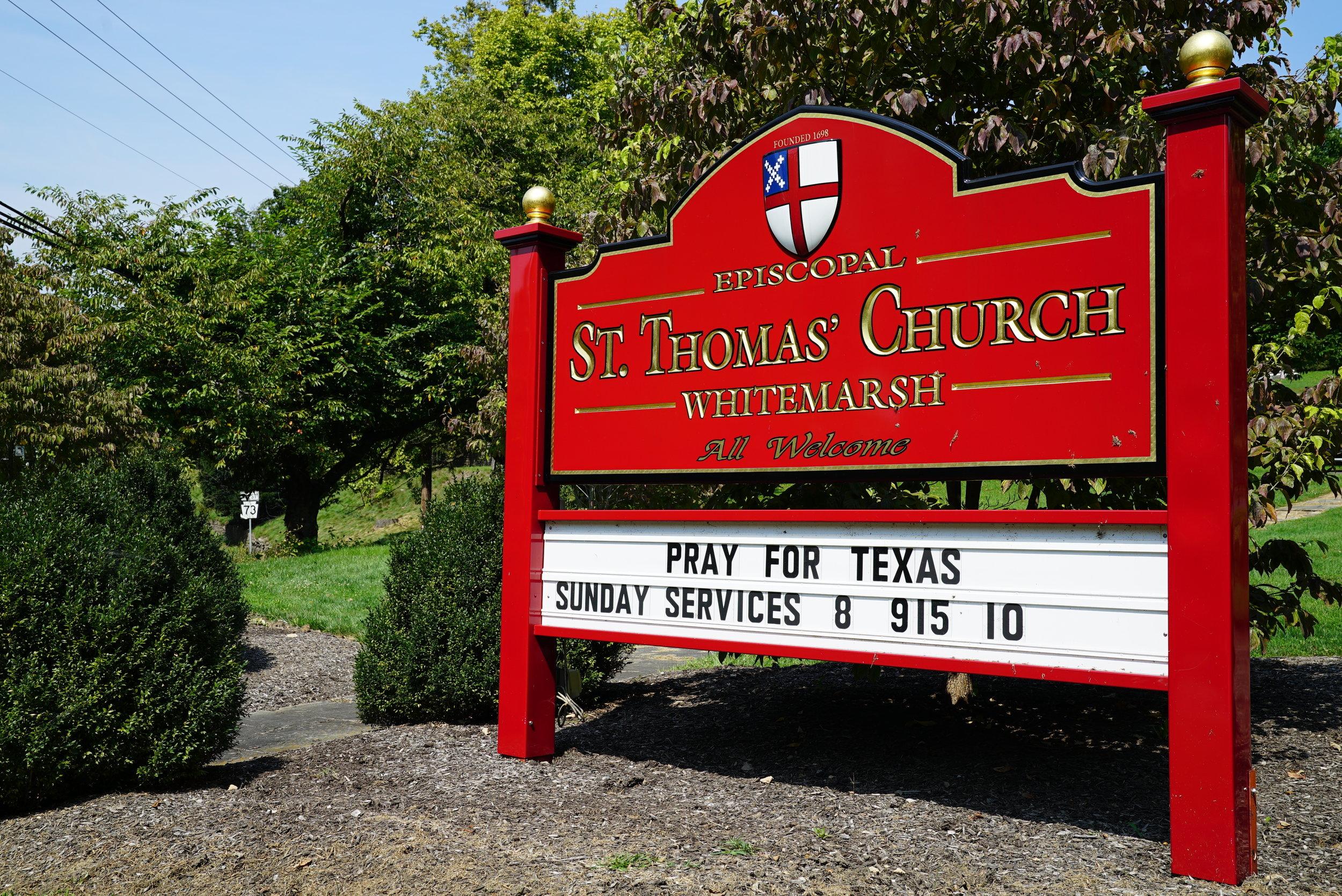Sign near the cemetery entrance. St. Thomas Church Cemetery. Whitemarsh, Pennsylvania.