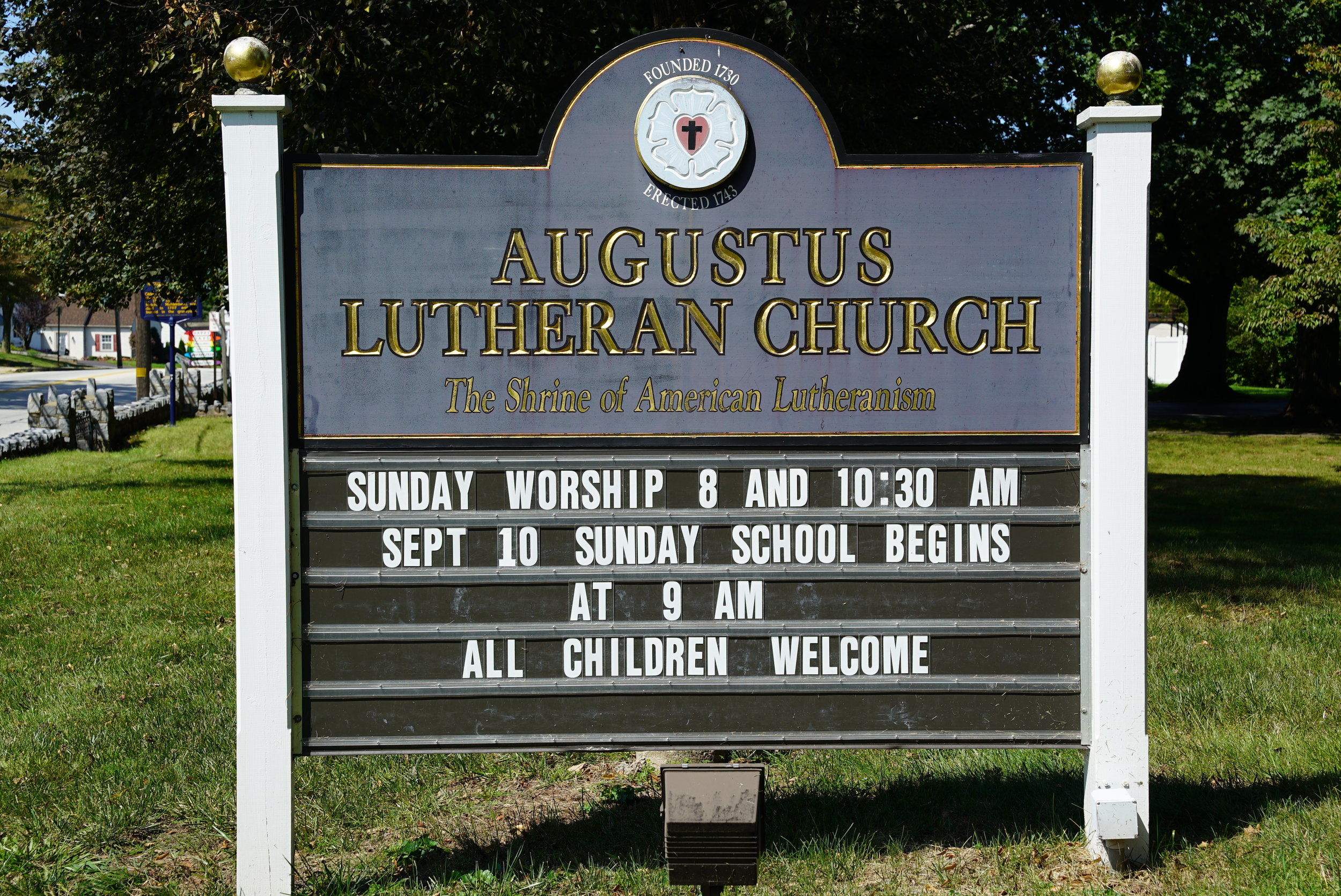 Sign outside Augustus Lutheran Church Cemetery. Trappe, Pennsylvania.