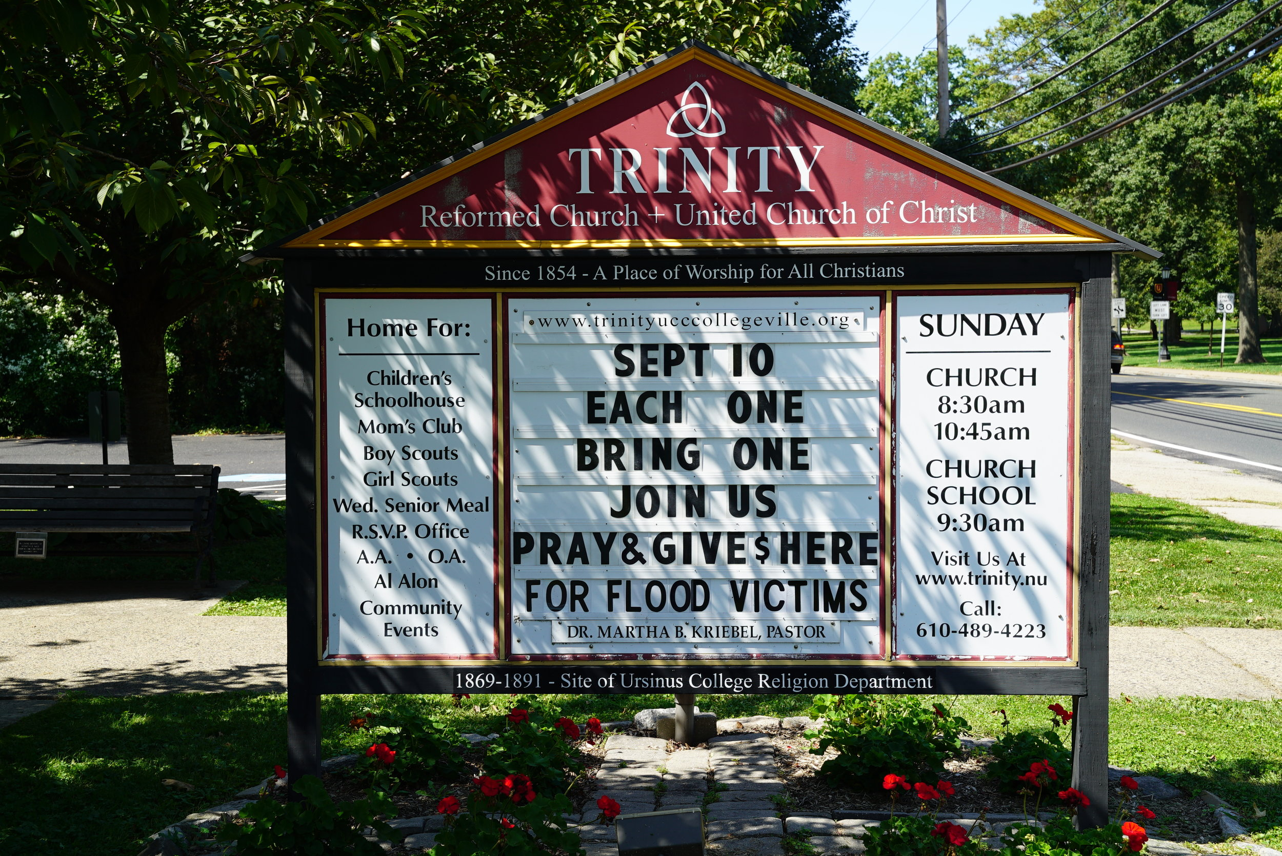 Sign outside Trinity Reformed United Church of Christ Cemetery. Collegeville, Pennsylvania.