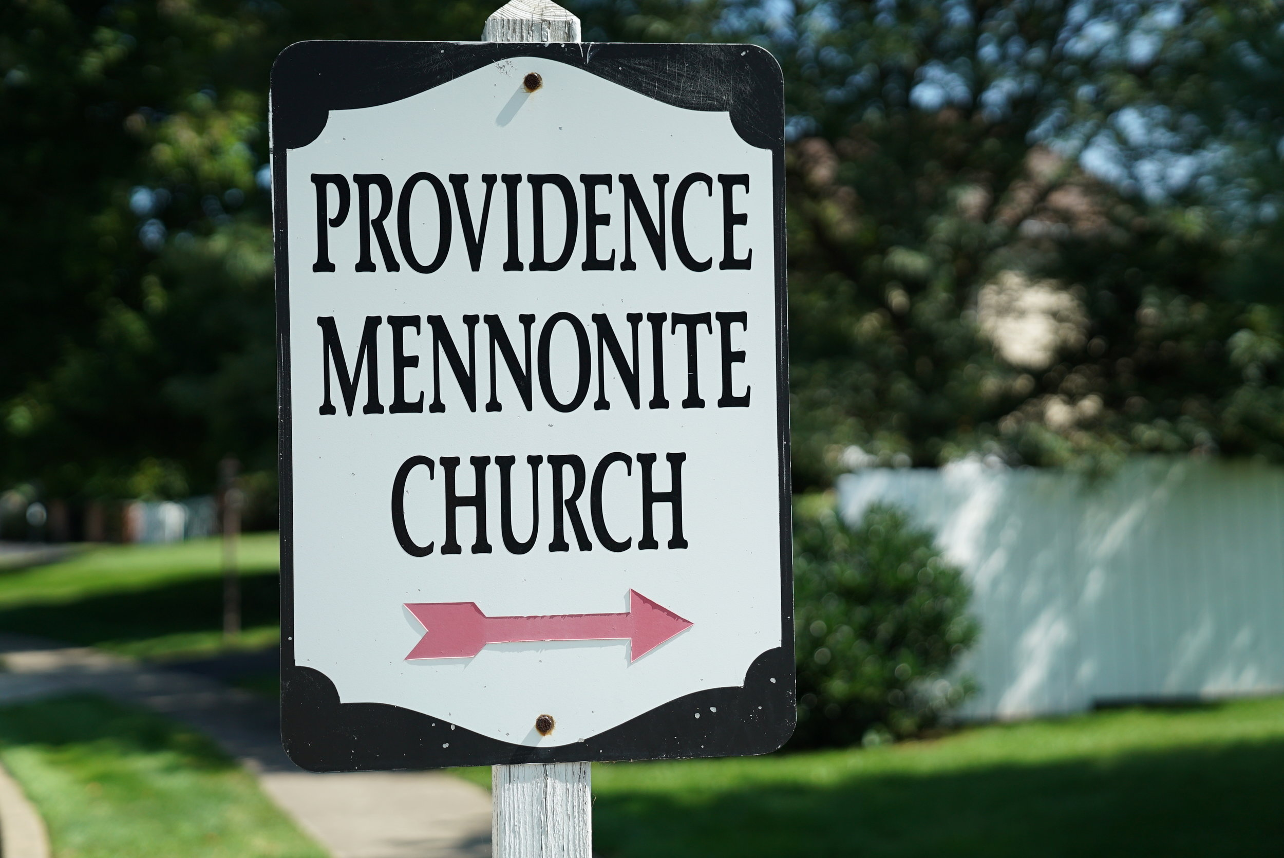 Sign at the rear entrance to Providence Mennonite Church Cemetery. Collegeville, Pennsylvania.