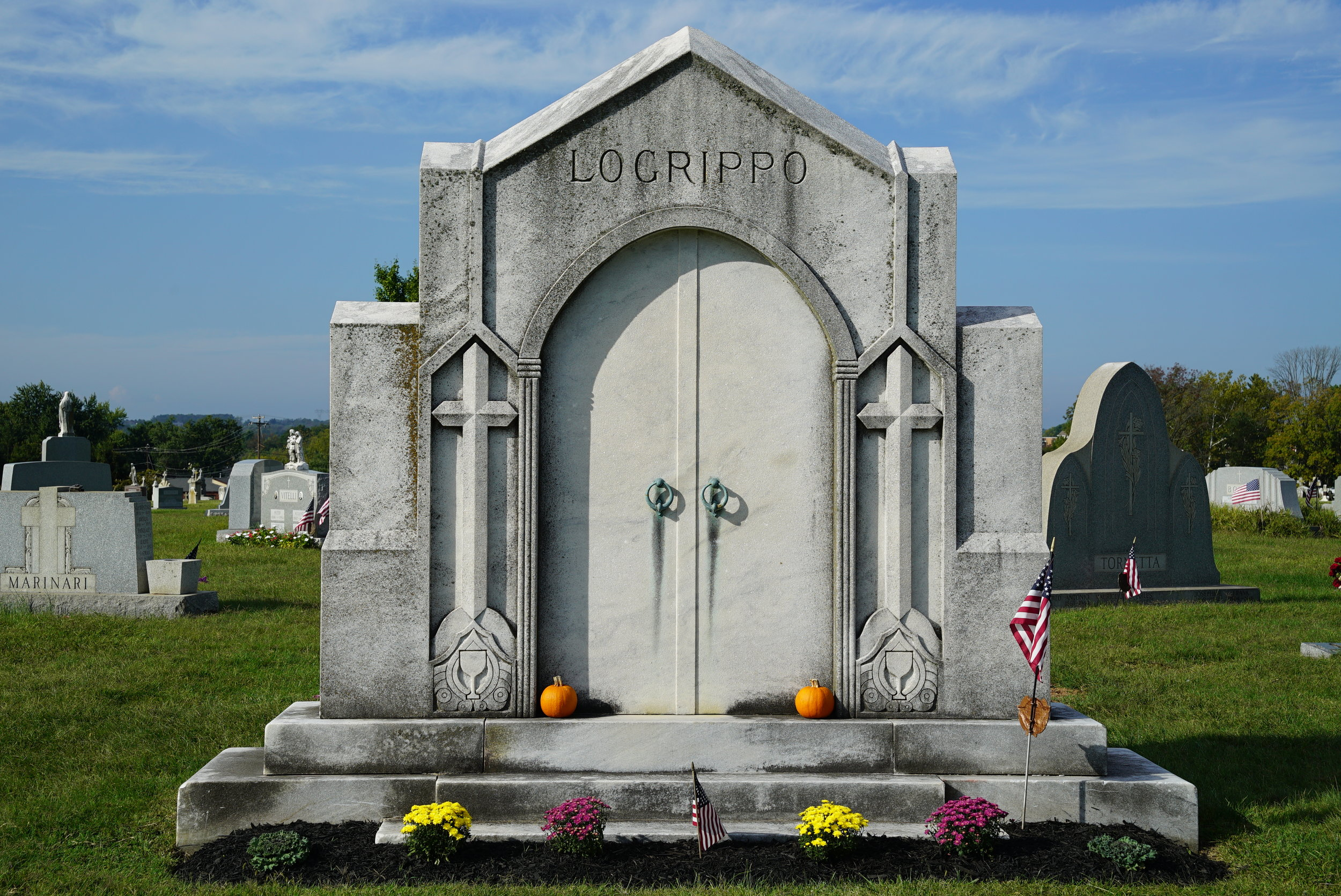 A large and unusual tombstone at St. Patrick's Cemetery. Norristown, Pennsylvania.