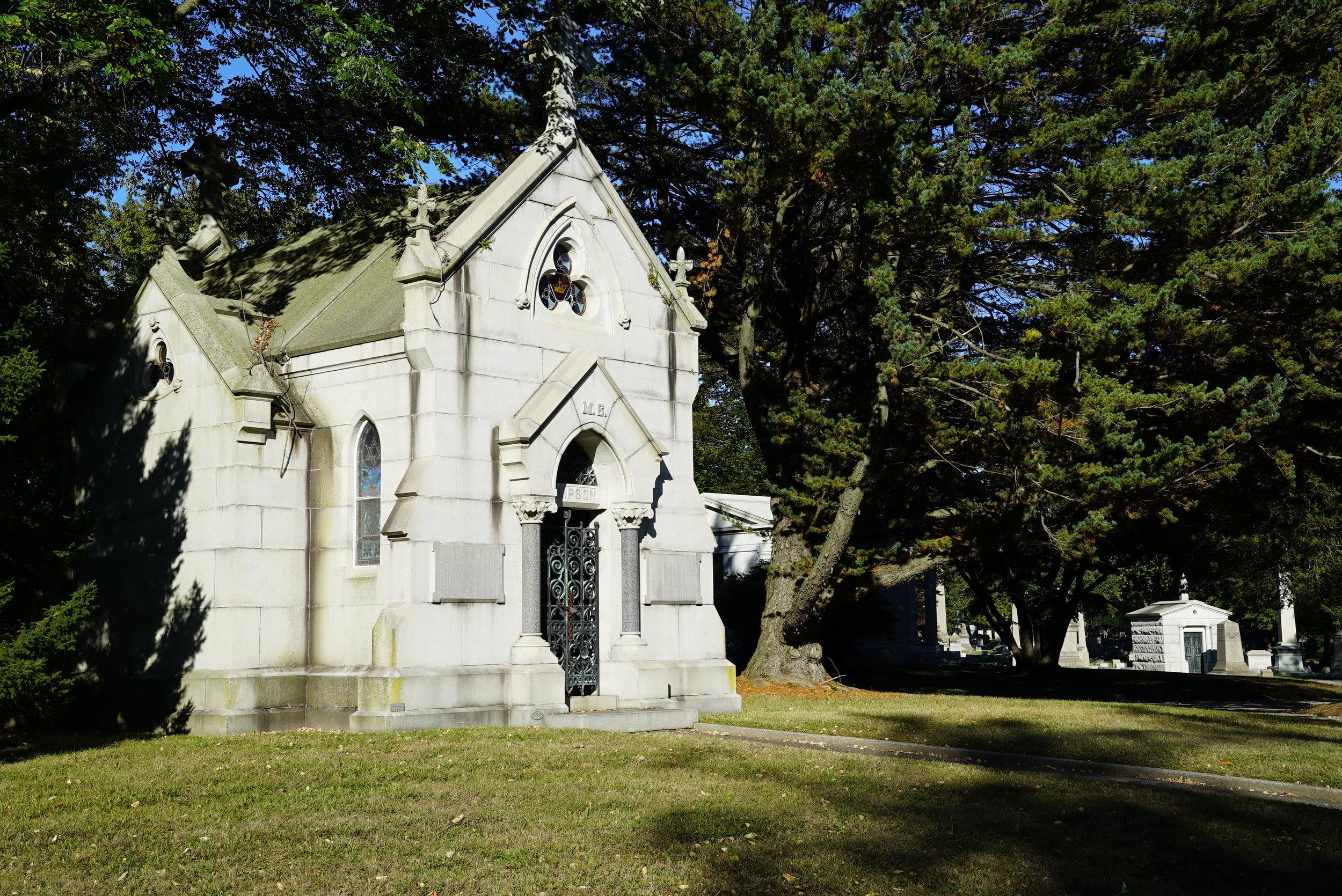 Mausoleum at West Laurel Hill Cemetery. Bala Cynwyd, Pennsylvania.