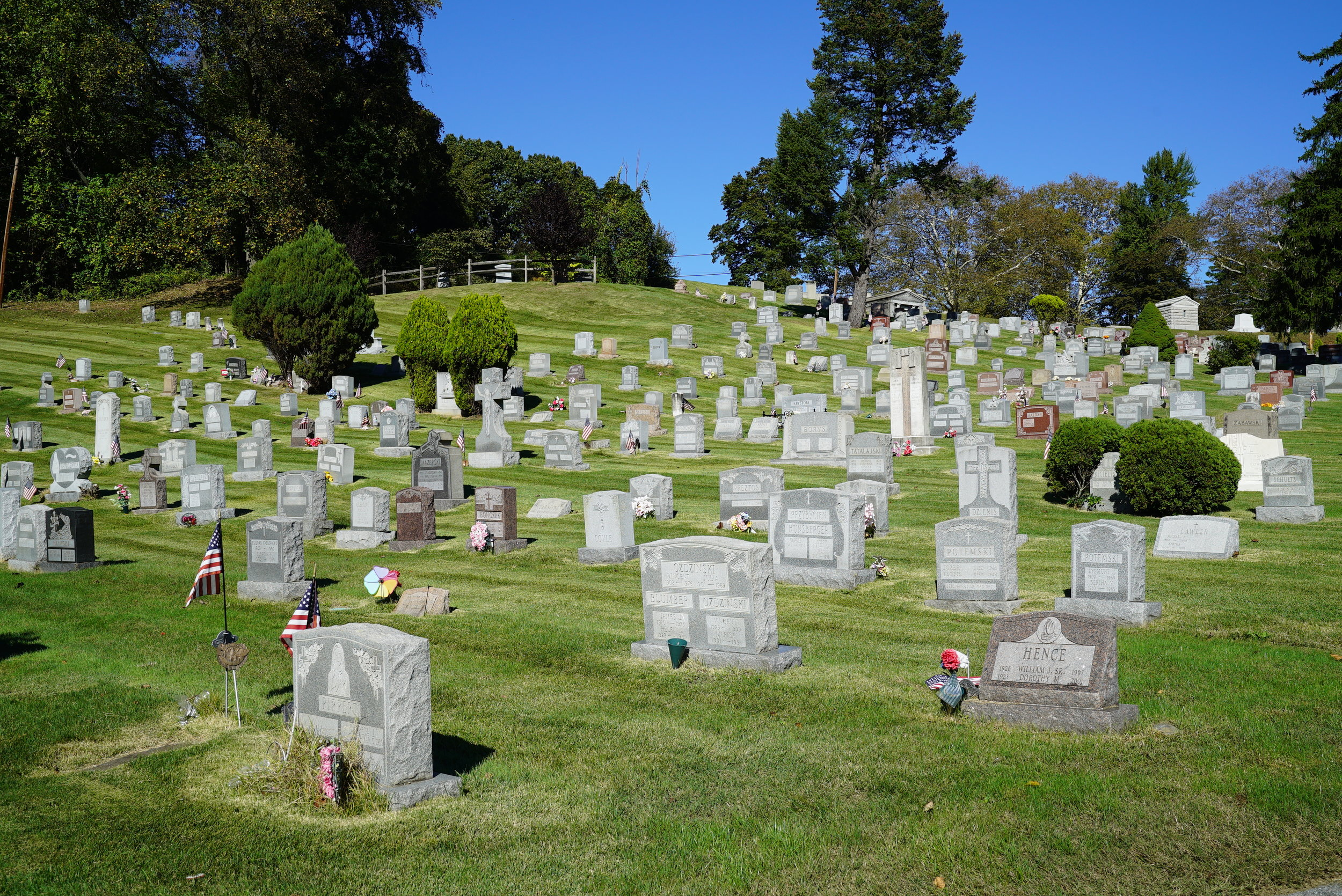 Part of the rolling landscape at Westminster Cemetery. Bala Cynwyd, Pennsylvania.
