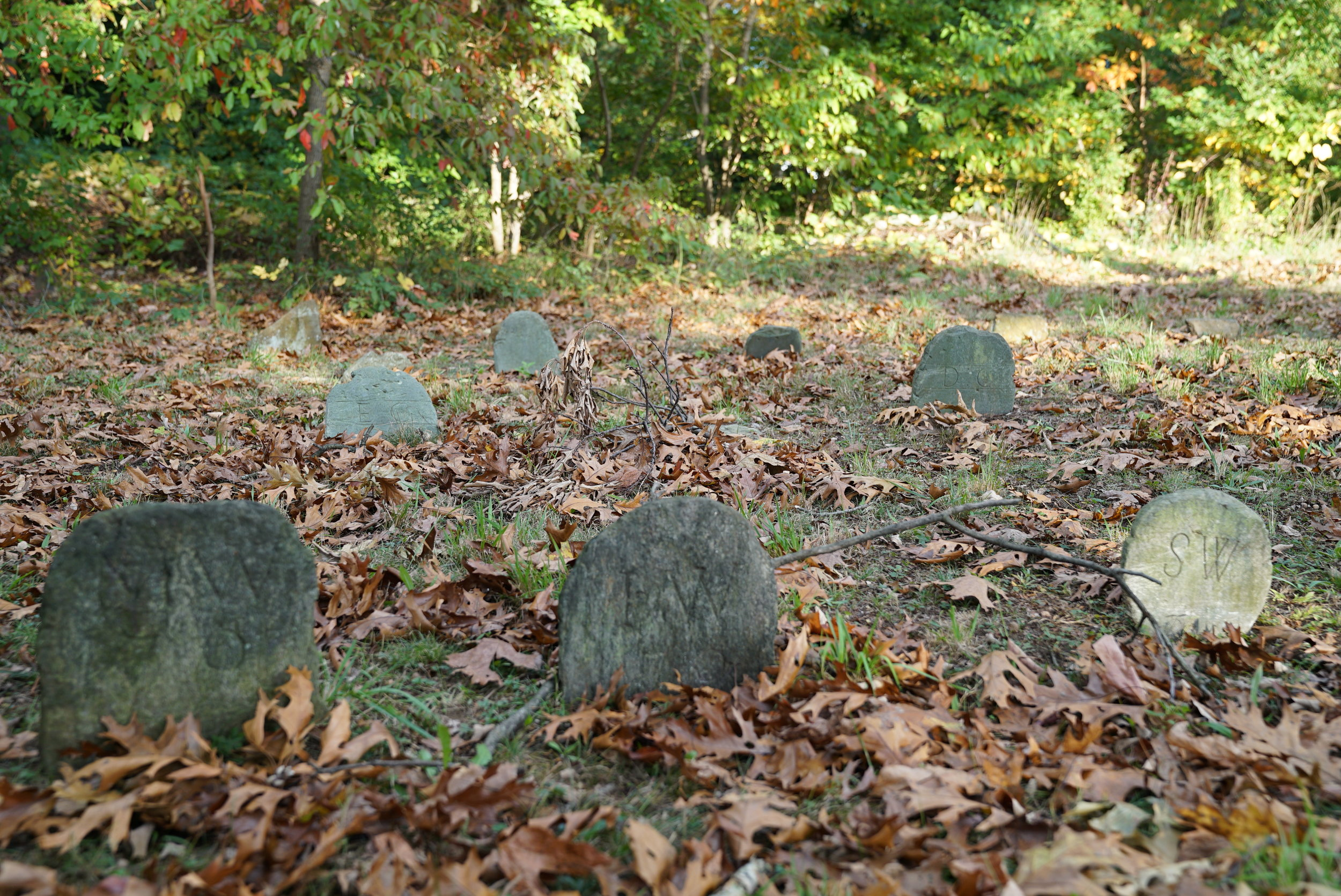 Most gravestones here are unreadable. The few that can be read have extremely minimal information. Sandy Bank Burial Ground. Media, Pennsylvania.