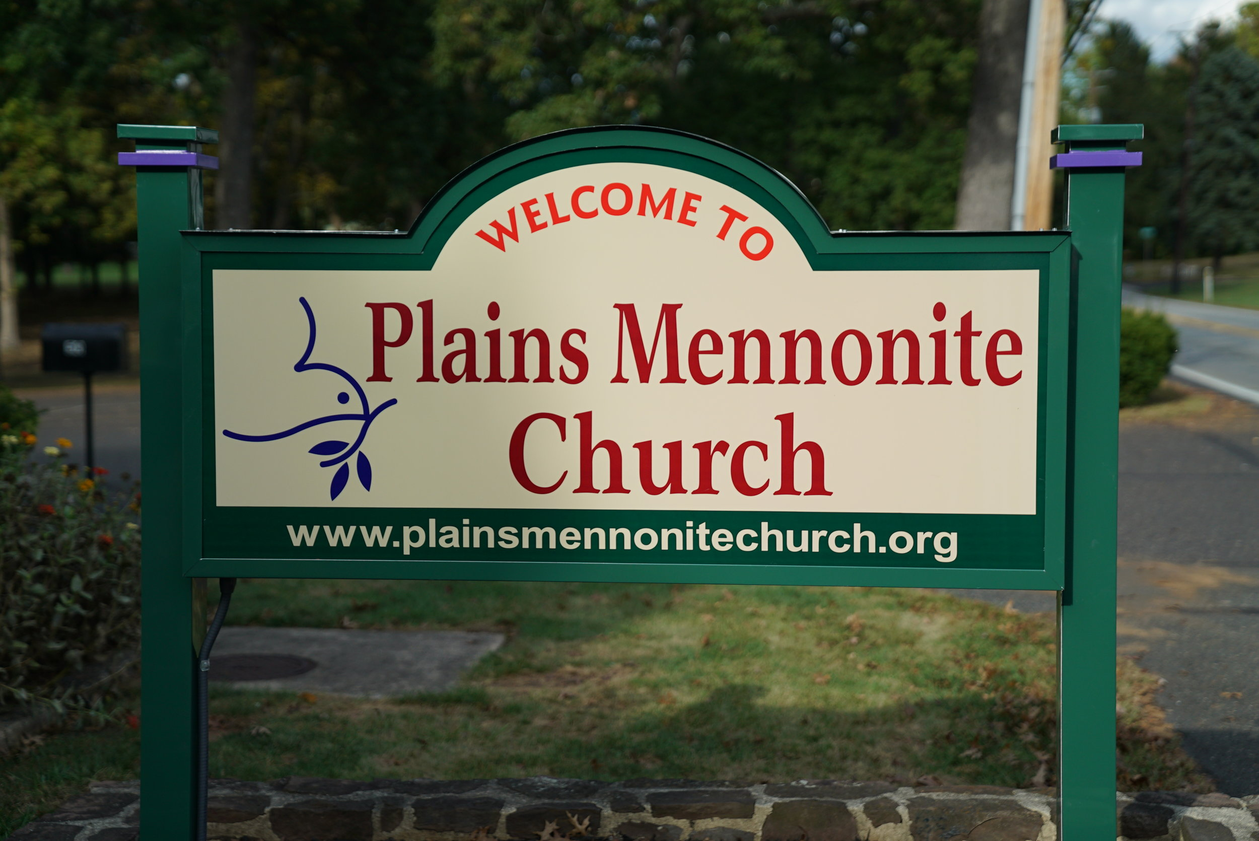 Sign on the grounds of the Plains Mennonite Church Cemetery. Hatfield, Pennsylvania.