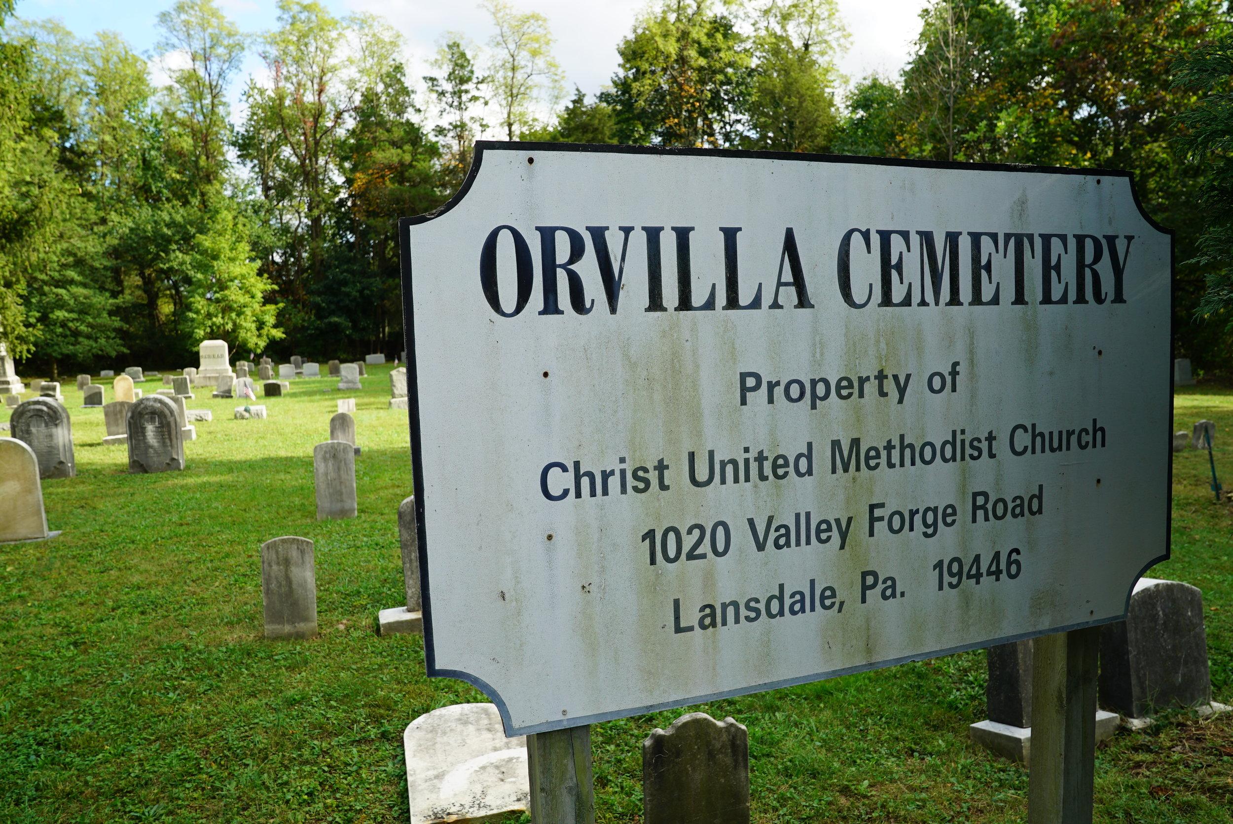 Sign at Orvilla Cemetery. Hatfield, Pennsylvania.