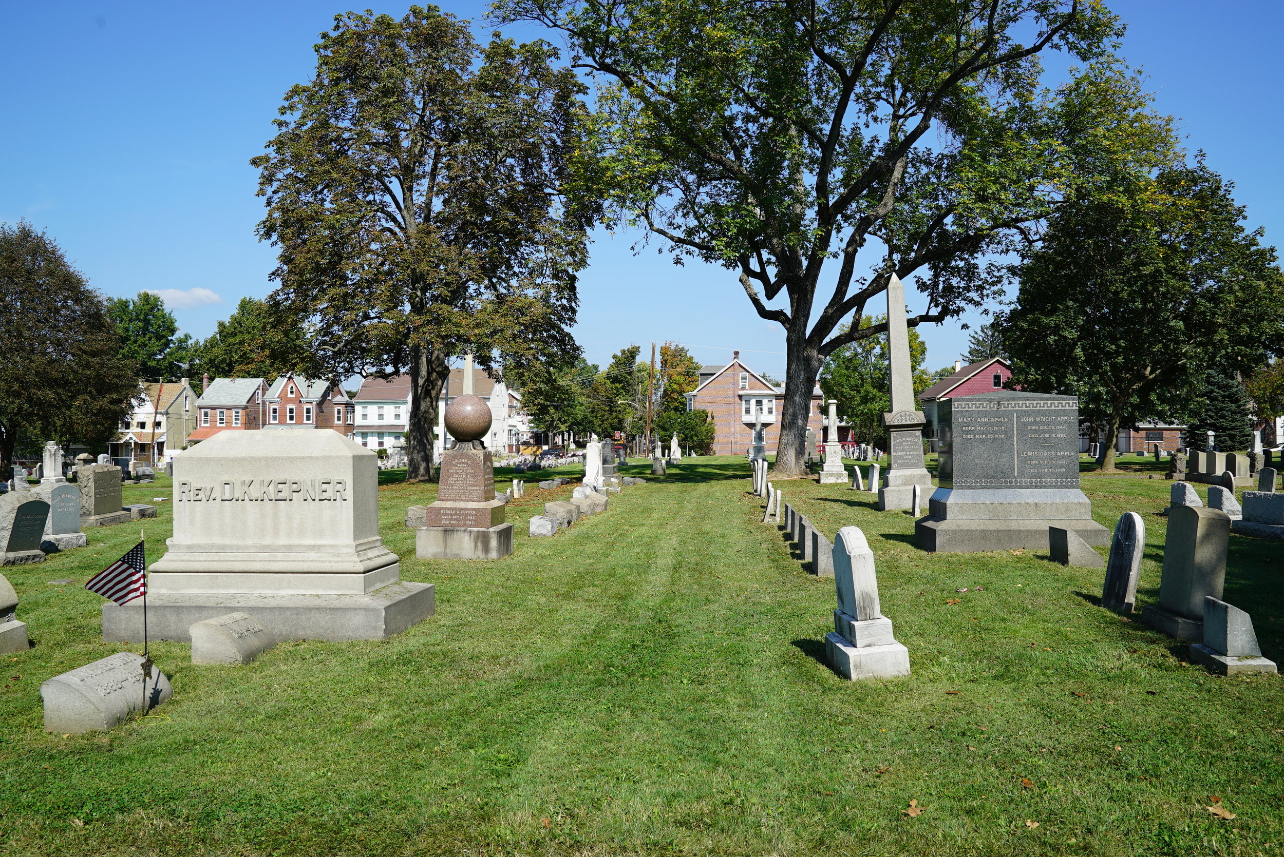 A view from the east side of Pottstown Cemetery. Pottstown, Pennsylvania.