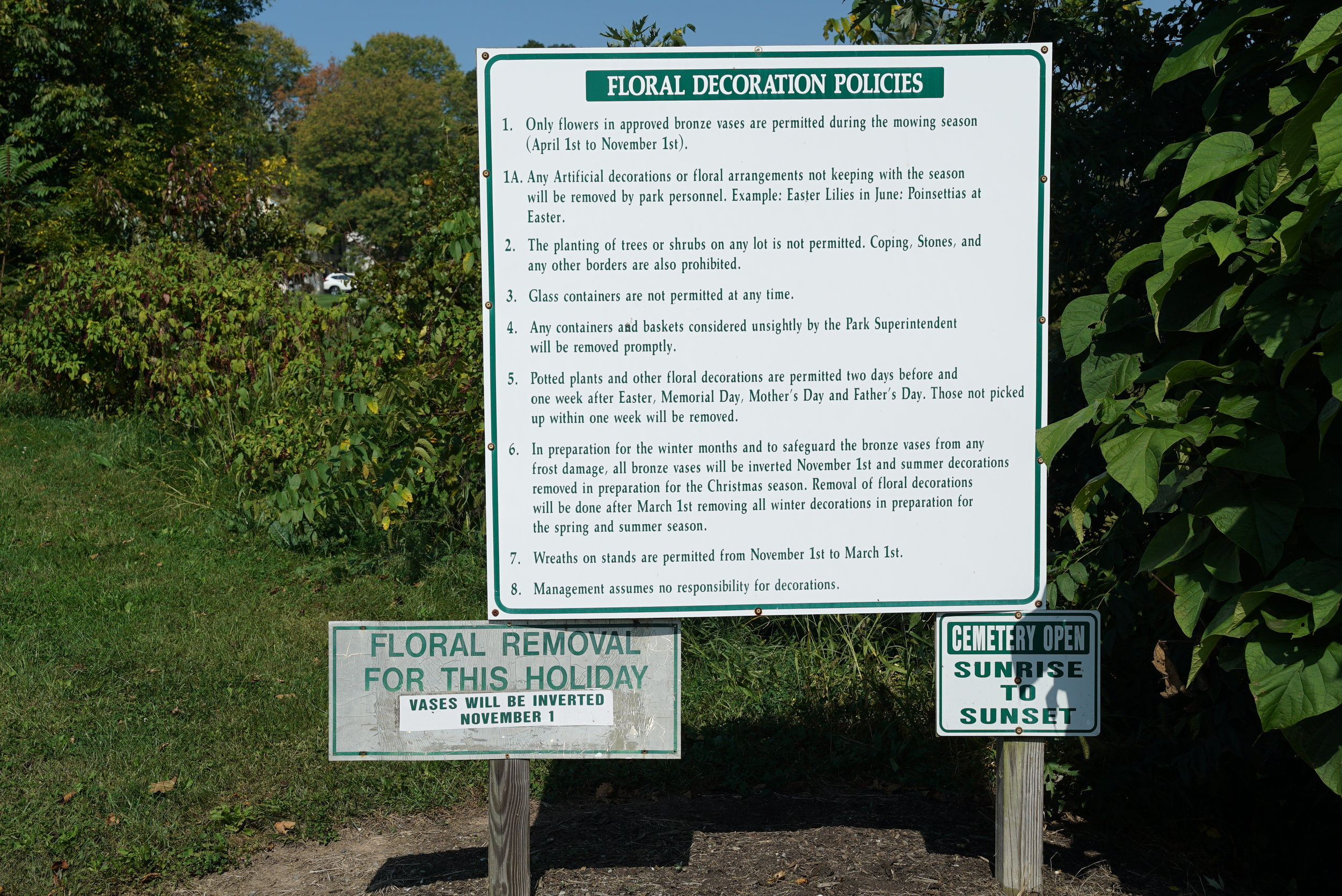 Signage at the entrance to Highland Memorial Park Cemetery. Pottstown, Pennsylvania.