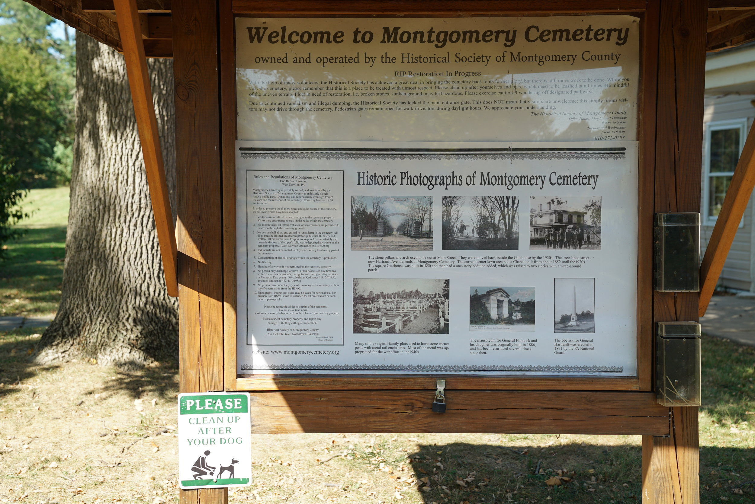 Information posted at the entrance to Montgomery Cemetery. West Norriton Township, Pennsylvania.