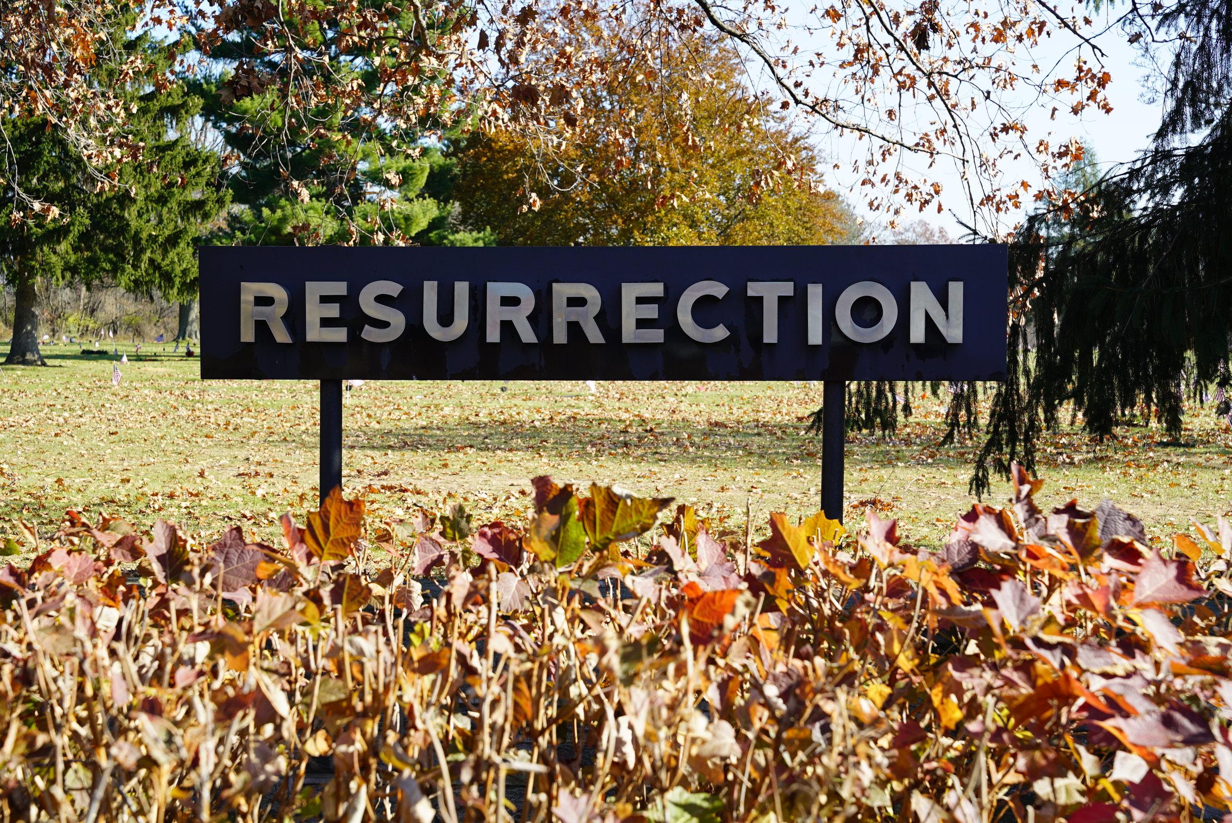 Sign a the entrance to Resurrection Cemetery. Bensalem, Pennsylvania.