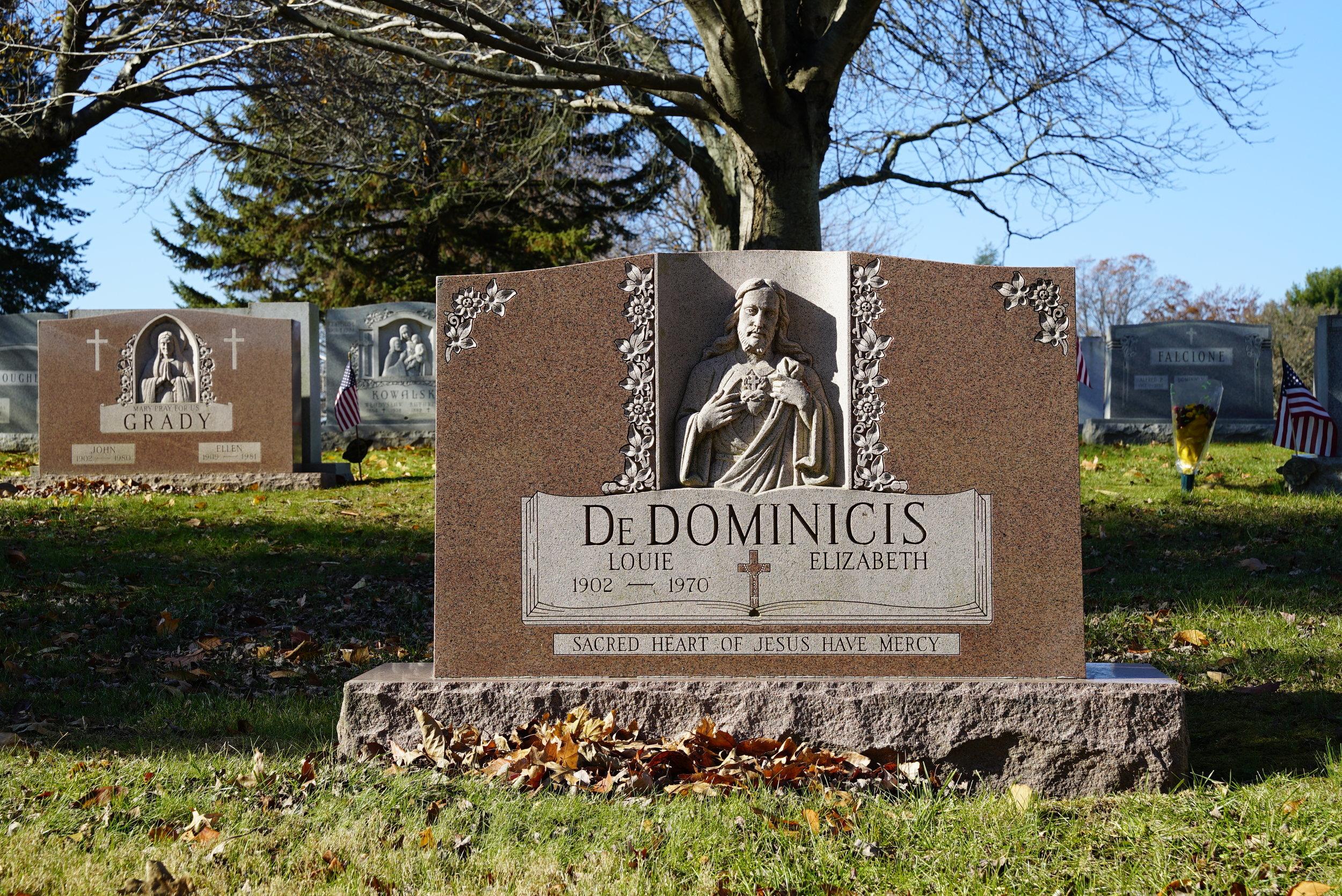 Hand-carved tombstone at Resurrection Cemetery. Bensalem, Pennsylvania.
