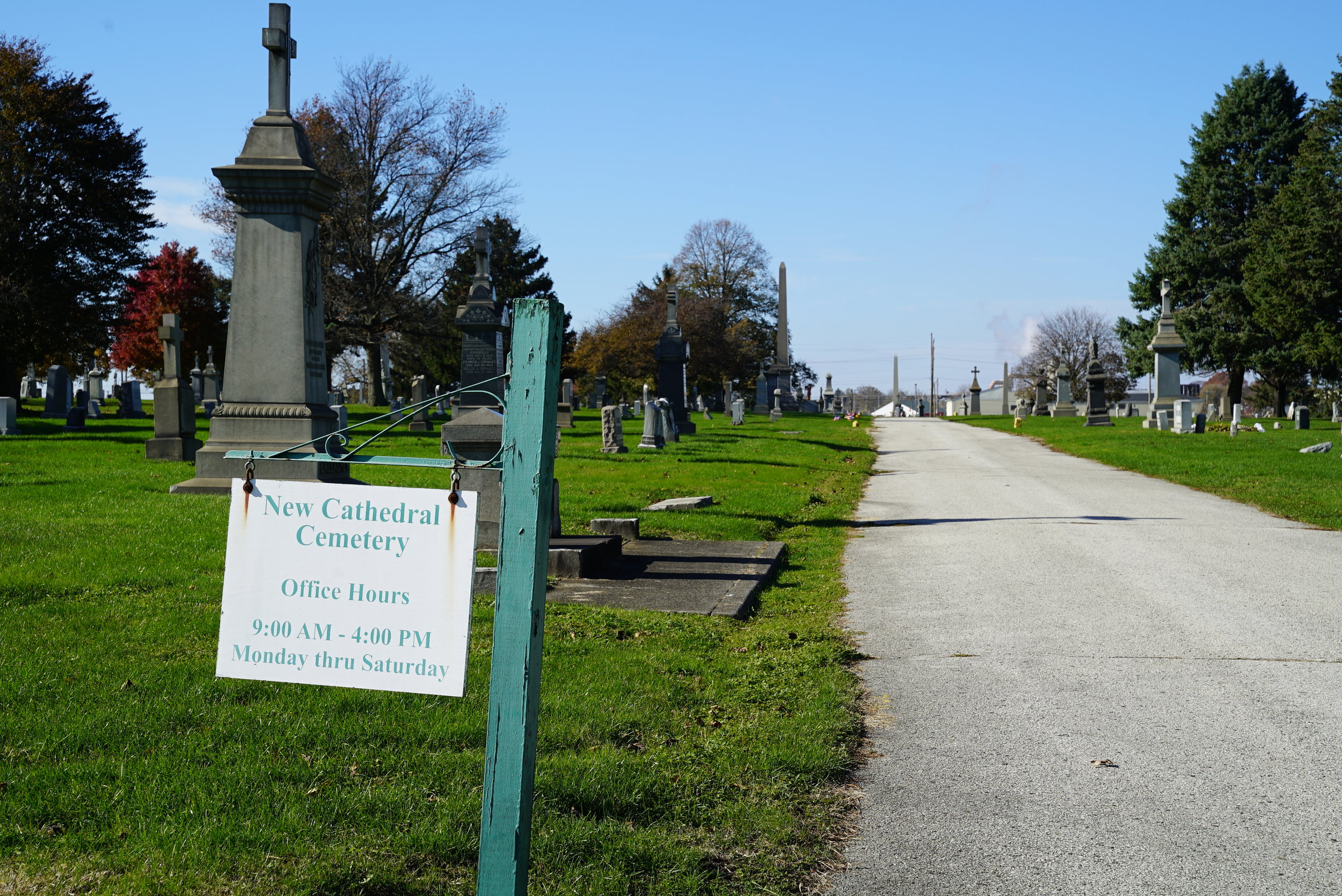 Sign at the entrance to New Cathedral Cemetery. Philadelphia, Pennsylvania.