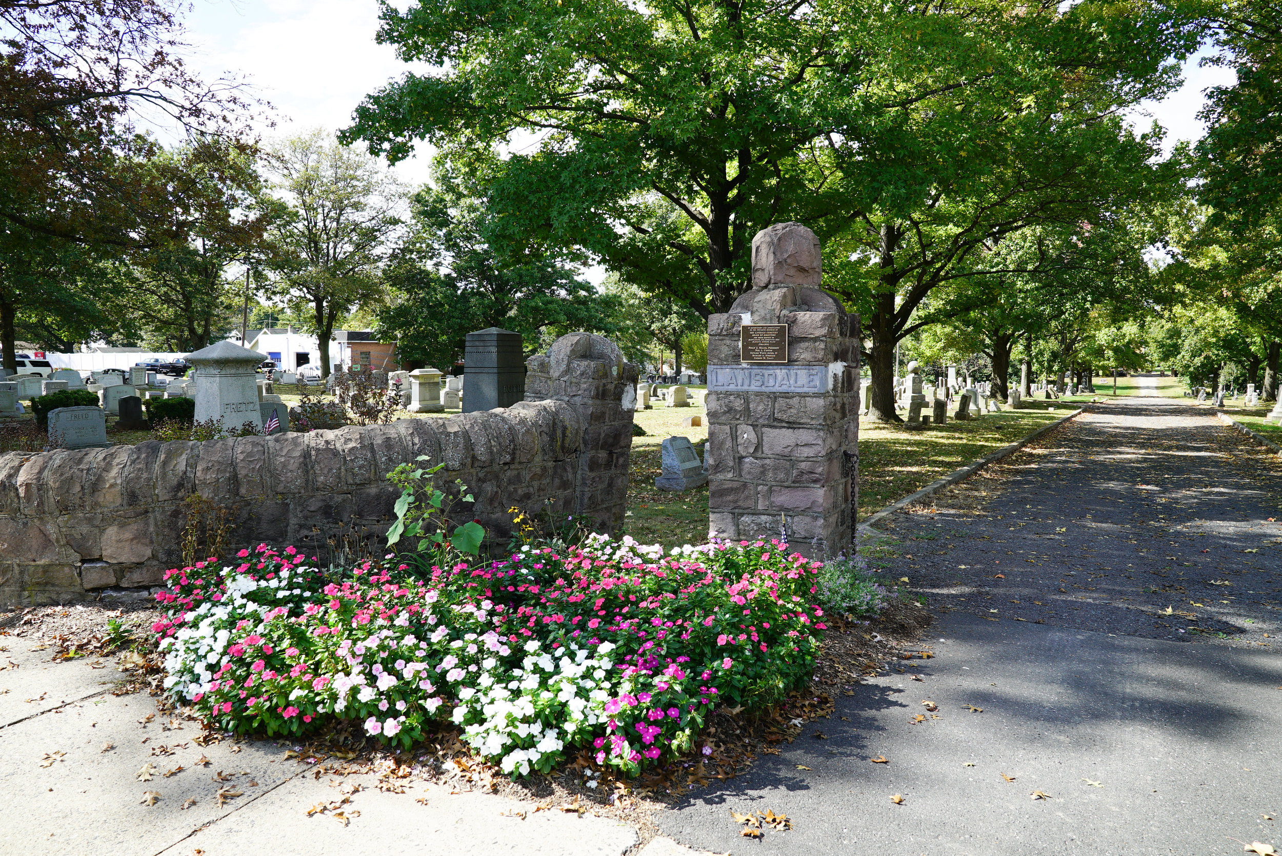 At the entrance to Lansdale Cemetery. Lansdale, Pennsylvania.