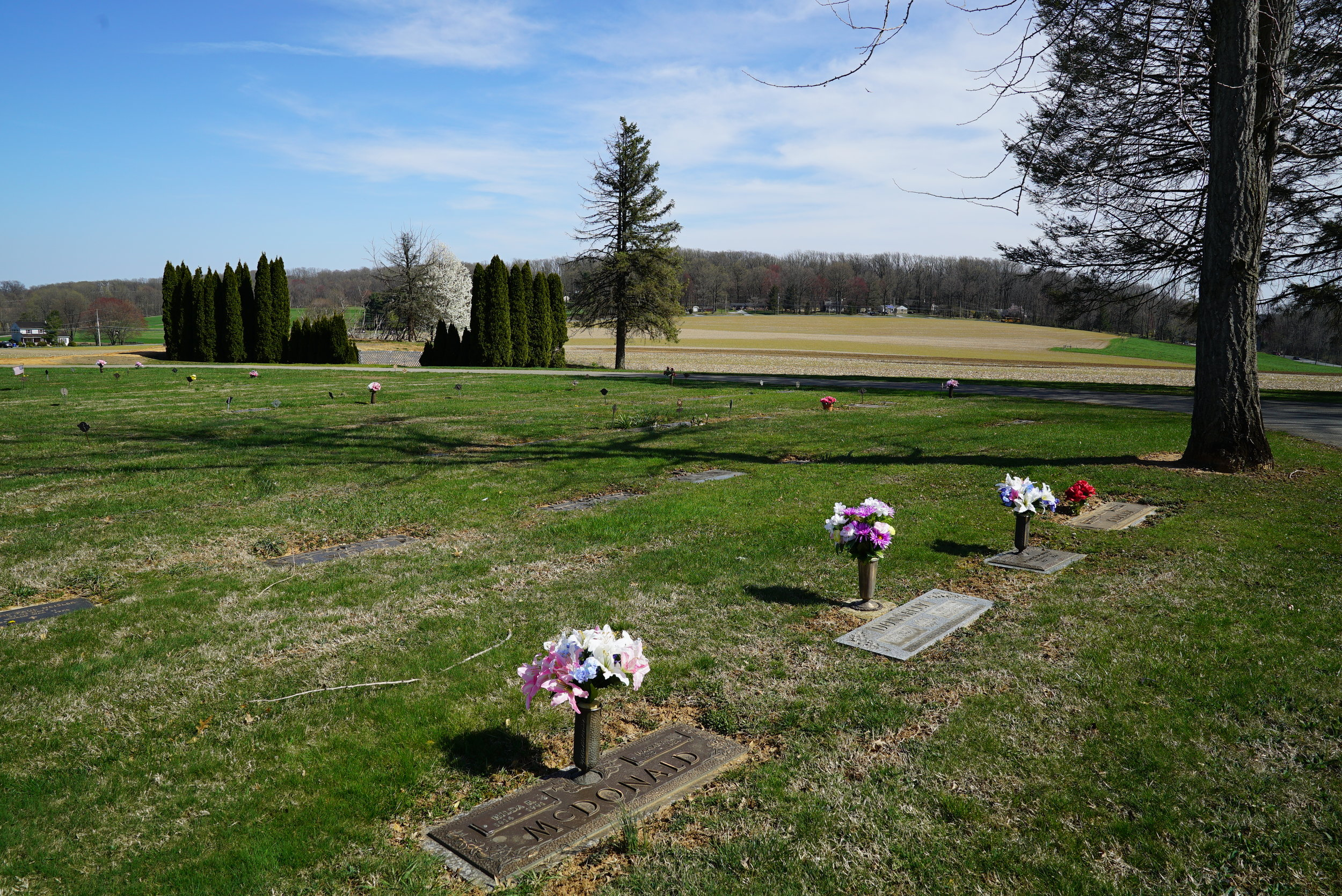 Flat marker section. Upper Octorara Presbyterian Church Cemetery. Parkesburg, Pennsylvania.