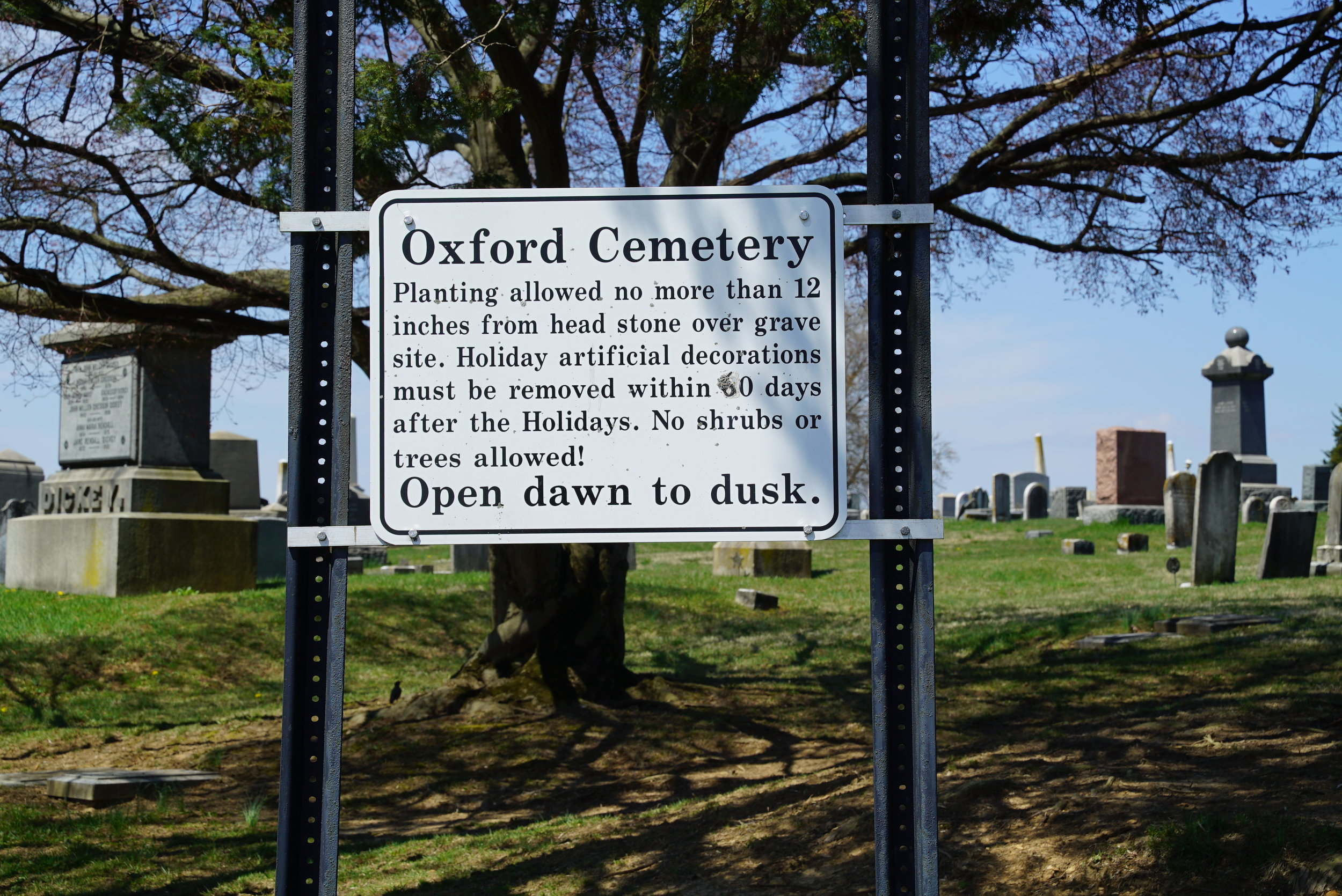 Sign at Oxford Cemetery. Oxford, Pennsylvania.