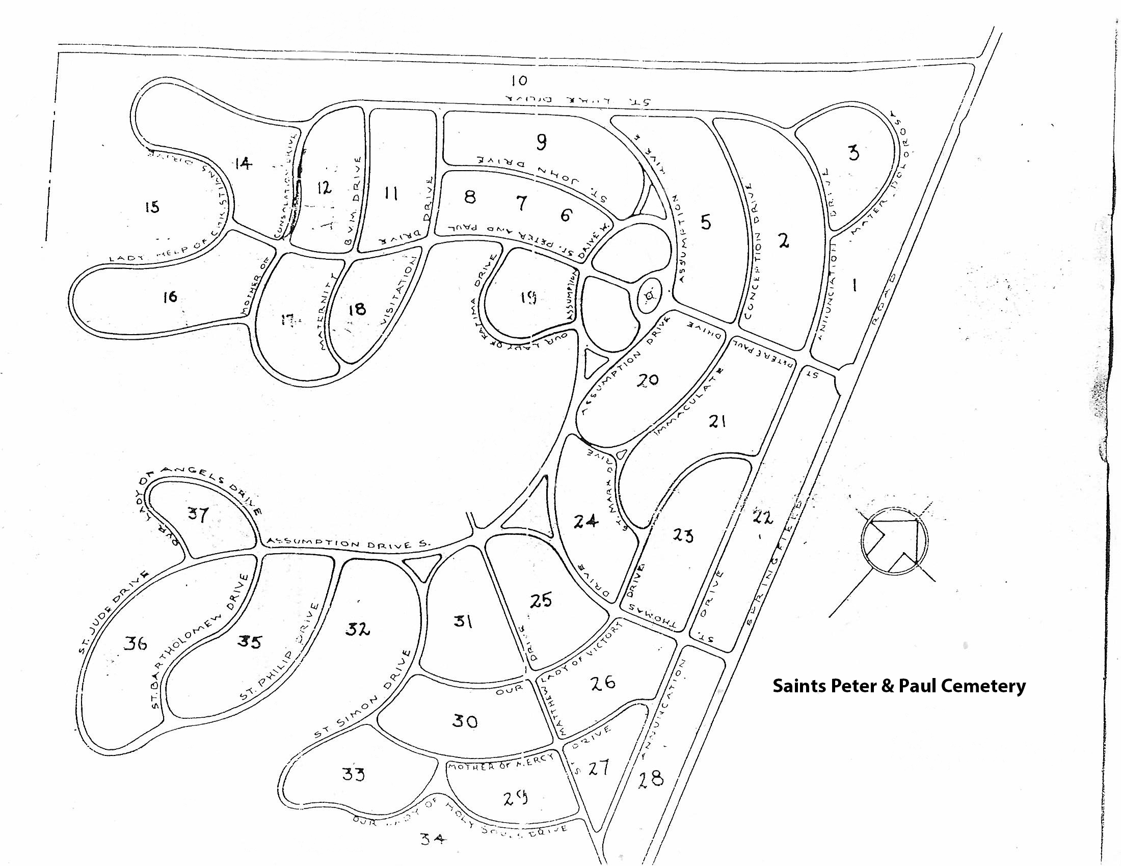 Map of Saints Peter and Paul Cemetery. Springfield, Pennsylvania.