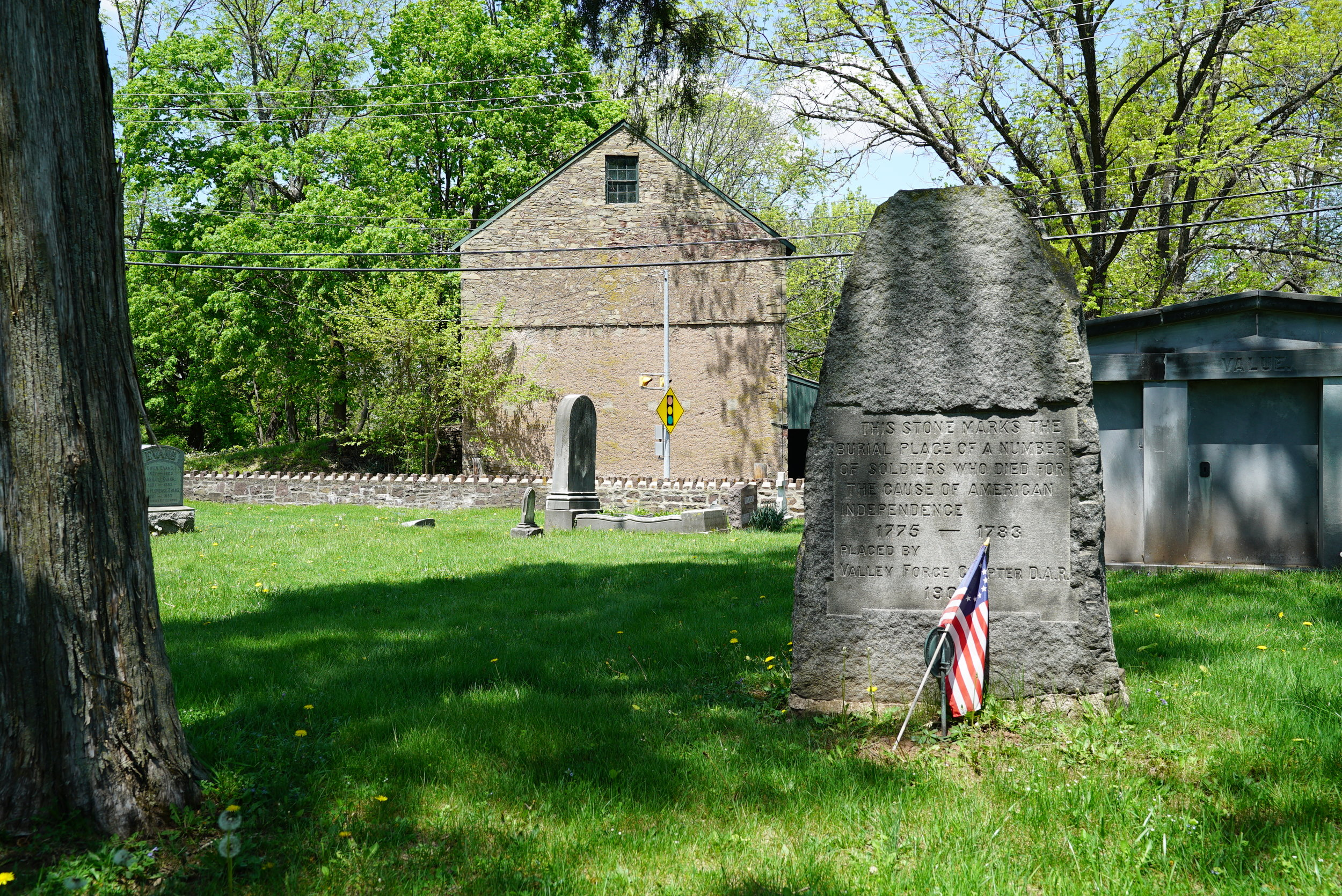 Monument to fallen revolutionary war soldiers. St. James Cemetery. Collegeville area of Montgomery County, Pennsylvania.