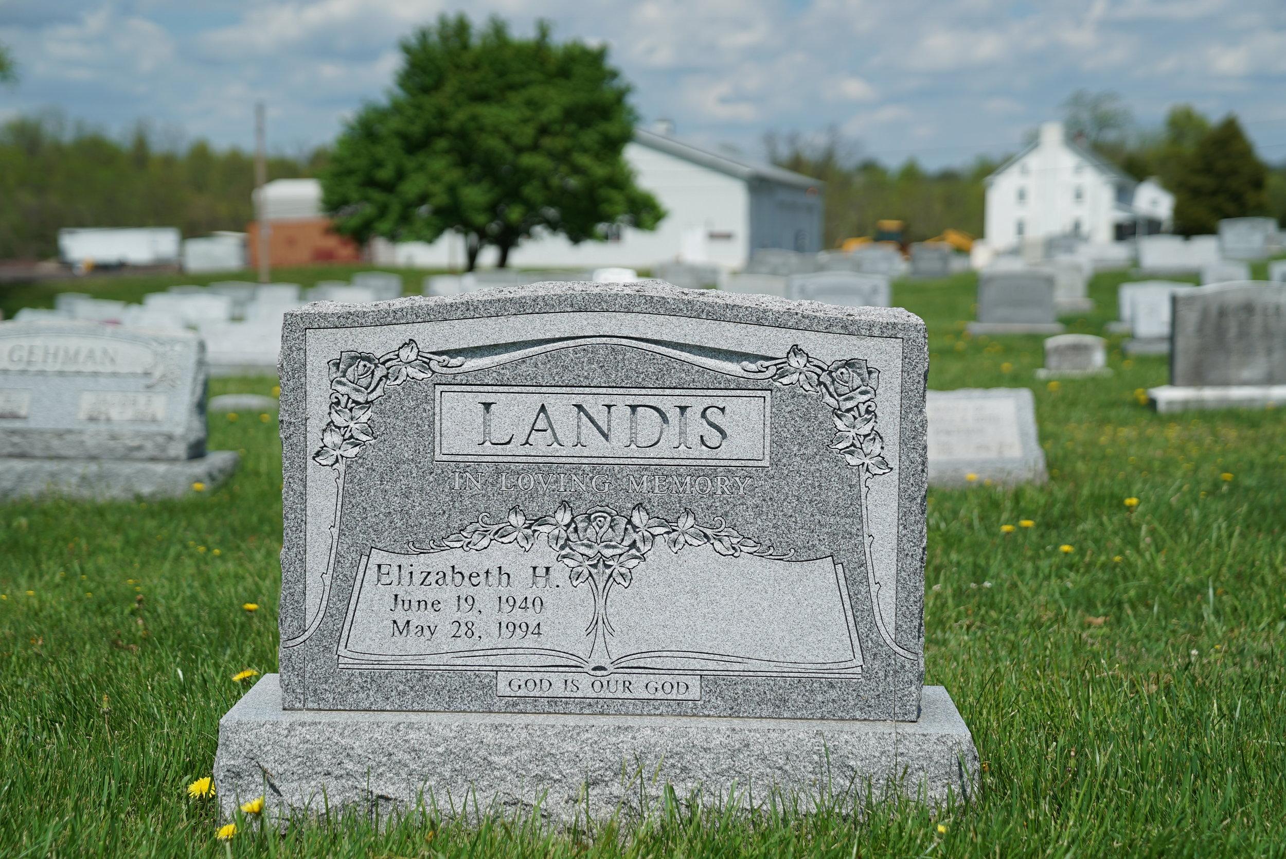 Tombstone a Franconia Mennonite Church Cemetery. Telford, Pennsylvania.