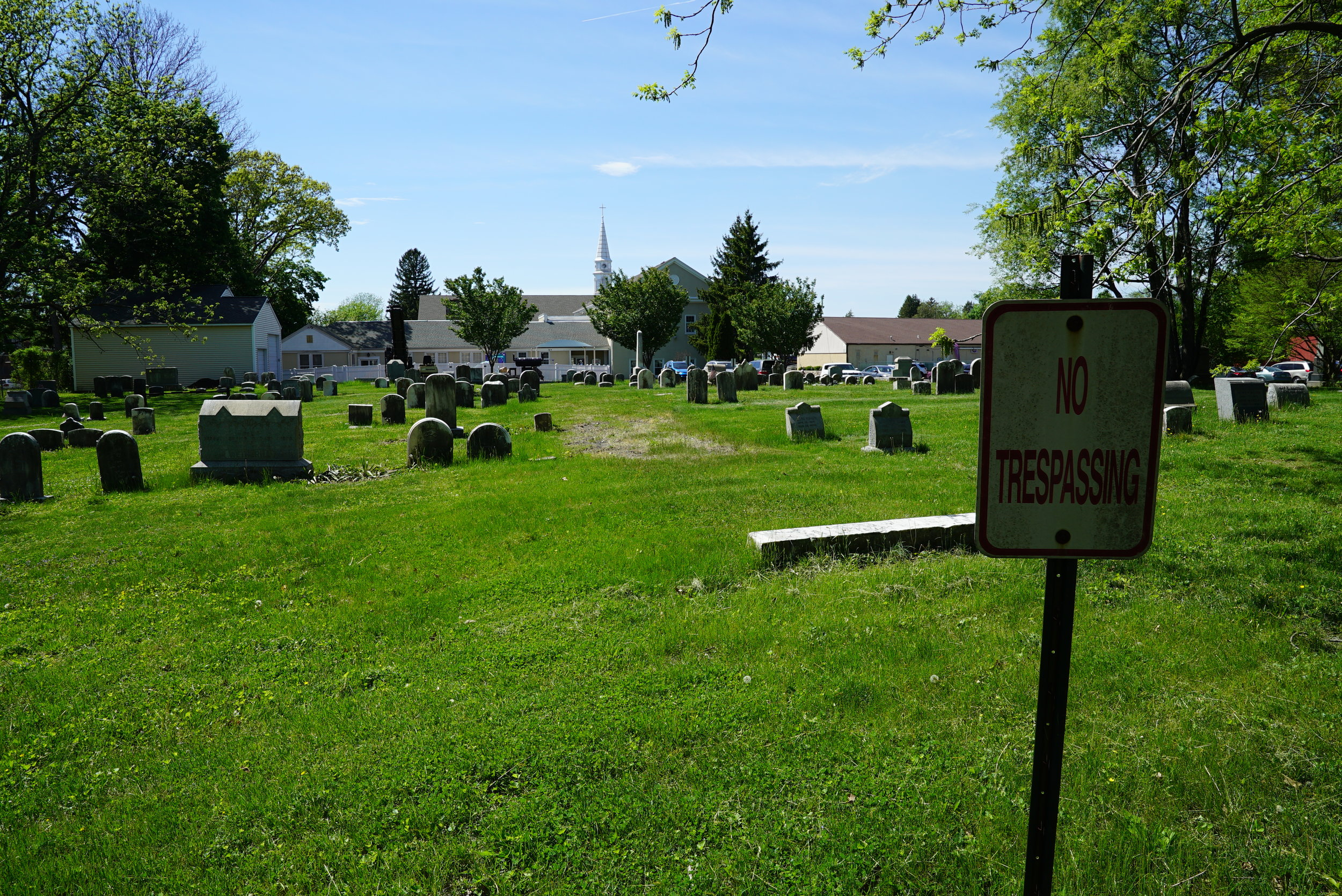 "The cemetery's ""No Trespassing"" signs should be removed. Pennsylvania law requires cemetery operators to allow ""reasonable access."" Hatboro Baptist Church Cemetery. Montgomery County, Pennsylvania."