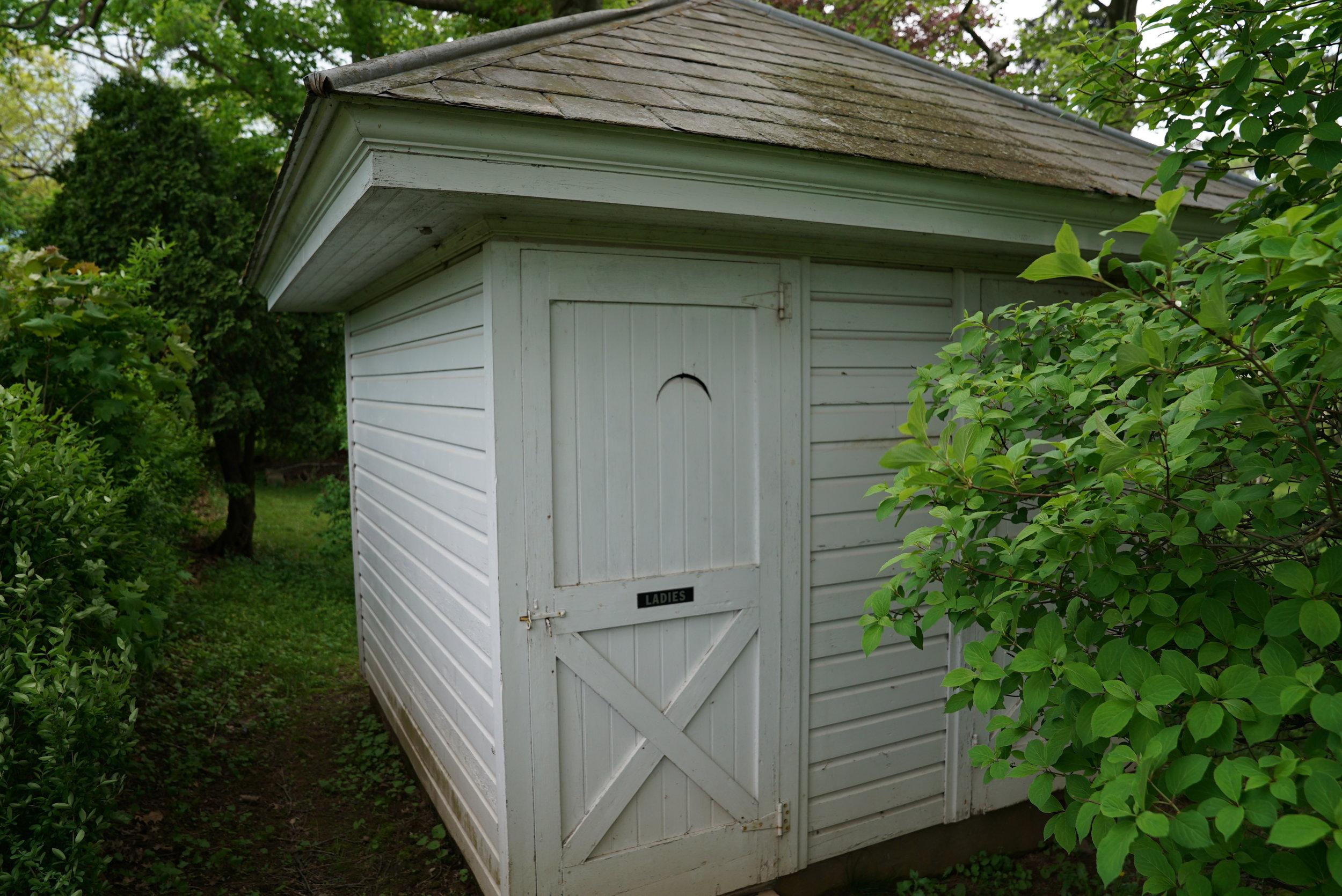 Outdoor restrooms. Hosensack Meeting House and Cemetery. Upper Hanover Township, Pennsylvania.