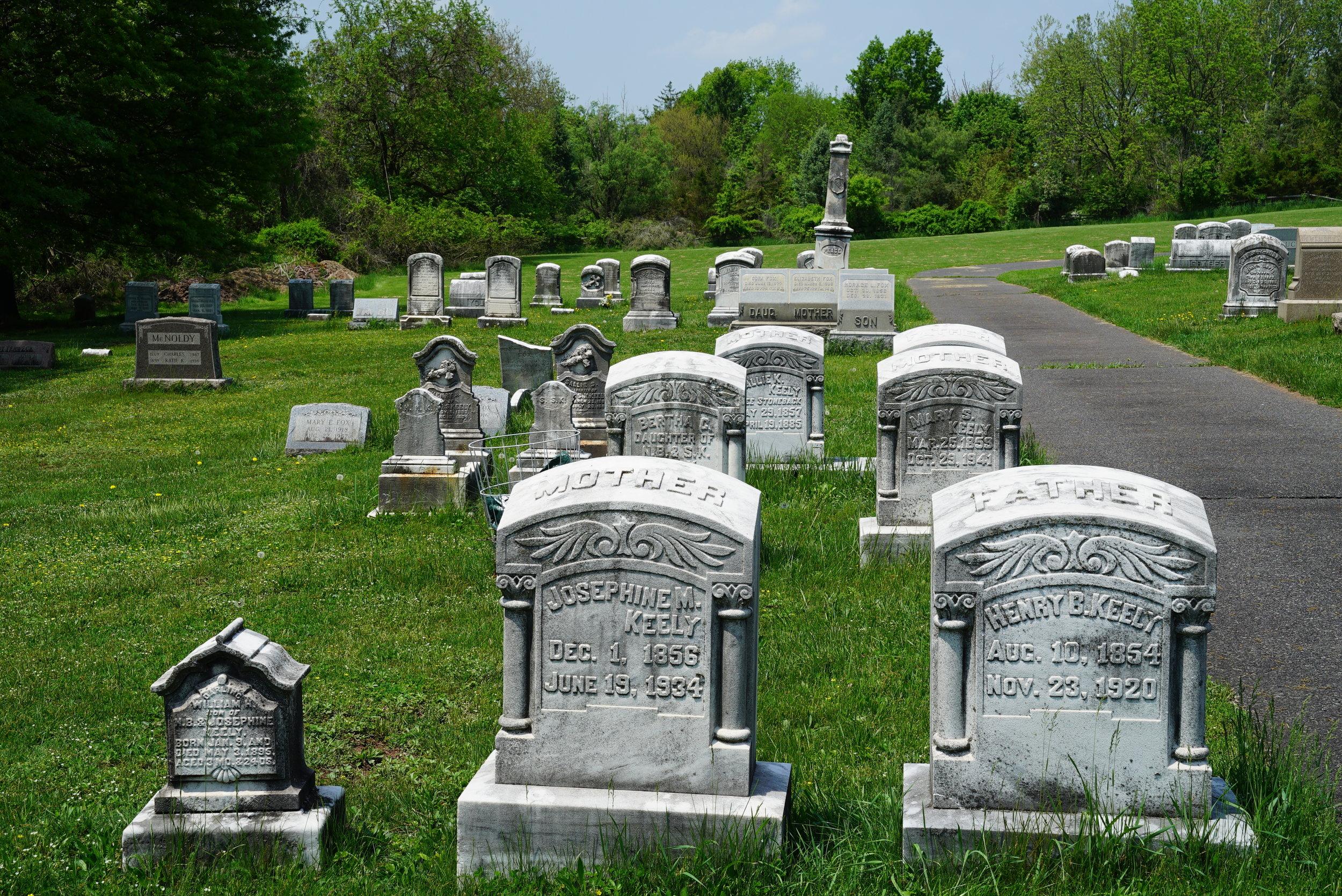 Old tombstones. Pennsburg United Church of Christ Cemetery. Pennsburg, Pennsylvania.