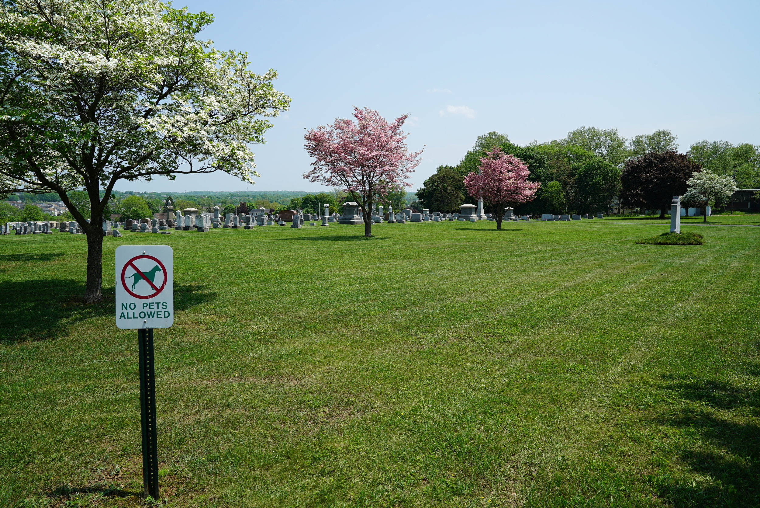 The well manicured grounds at St. Mark's Lutheran Cemetery. East Greenville/Pennsburg area of Montgomery County.